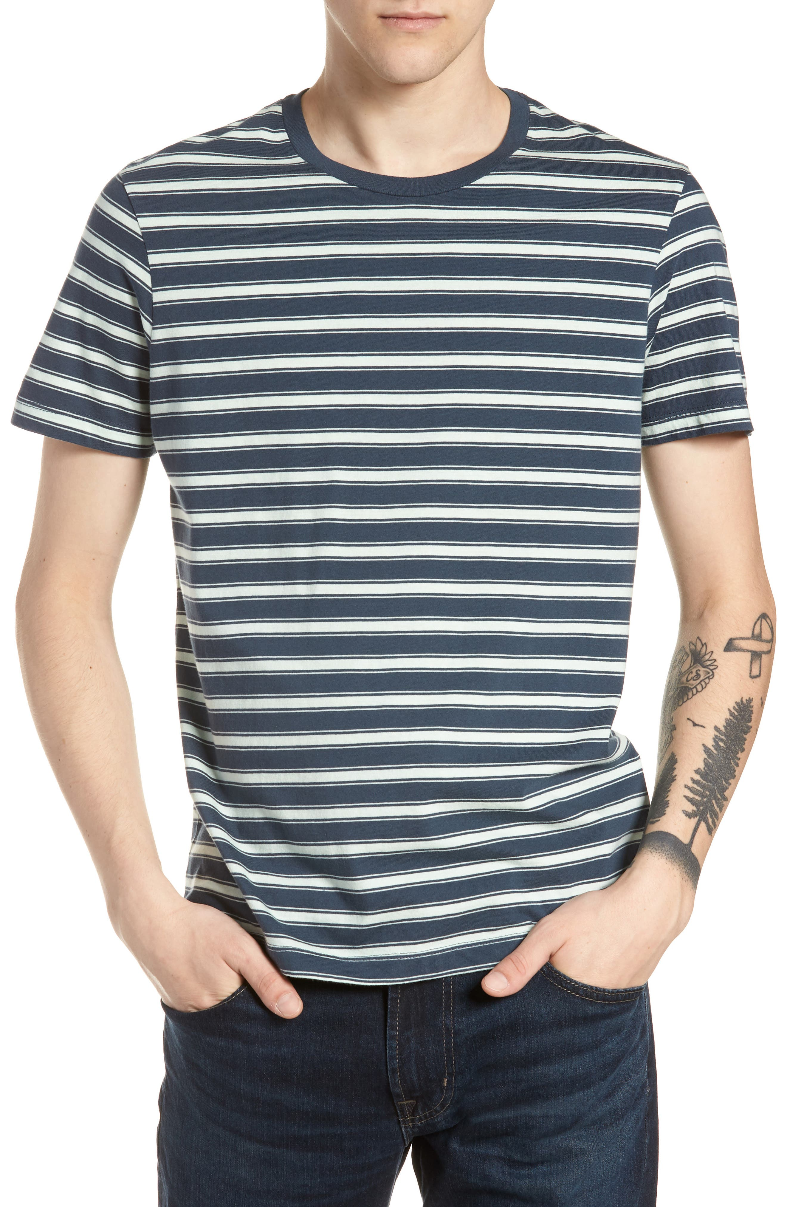 Mercantile Regular Fit Stripe T-Shirt,                             Main thumbnail 1, color,                             Muted Midnight