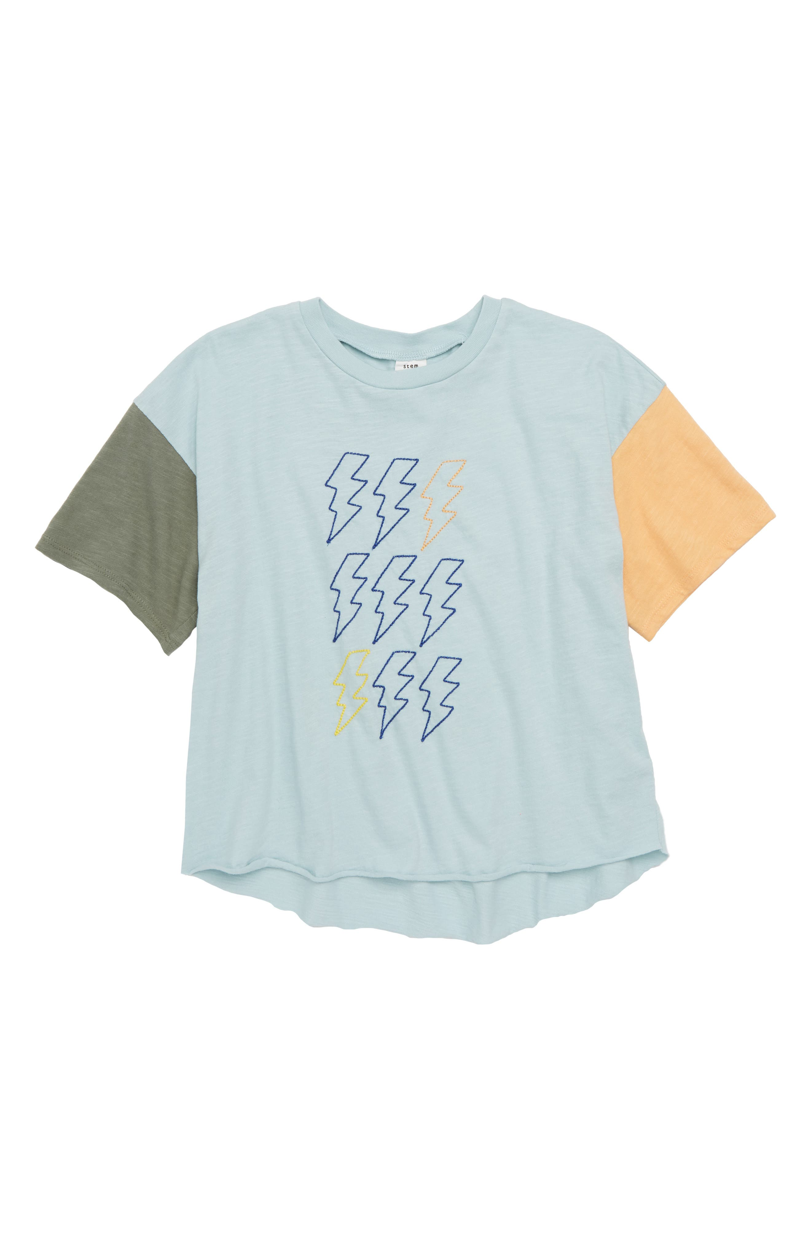 Relaxed Embroidered T-Shirt,                             Main thumbnail 1, color,                             Blue Sterling- Multi Bolts