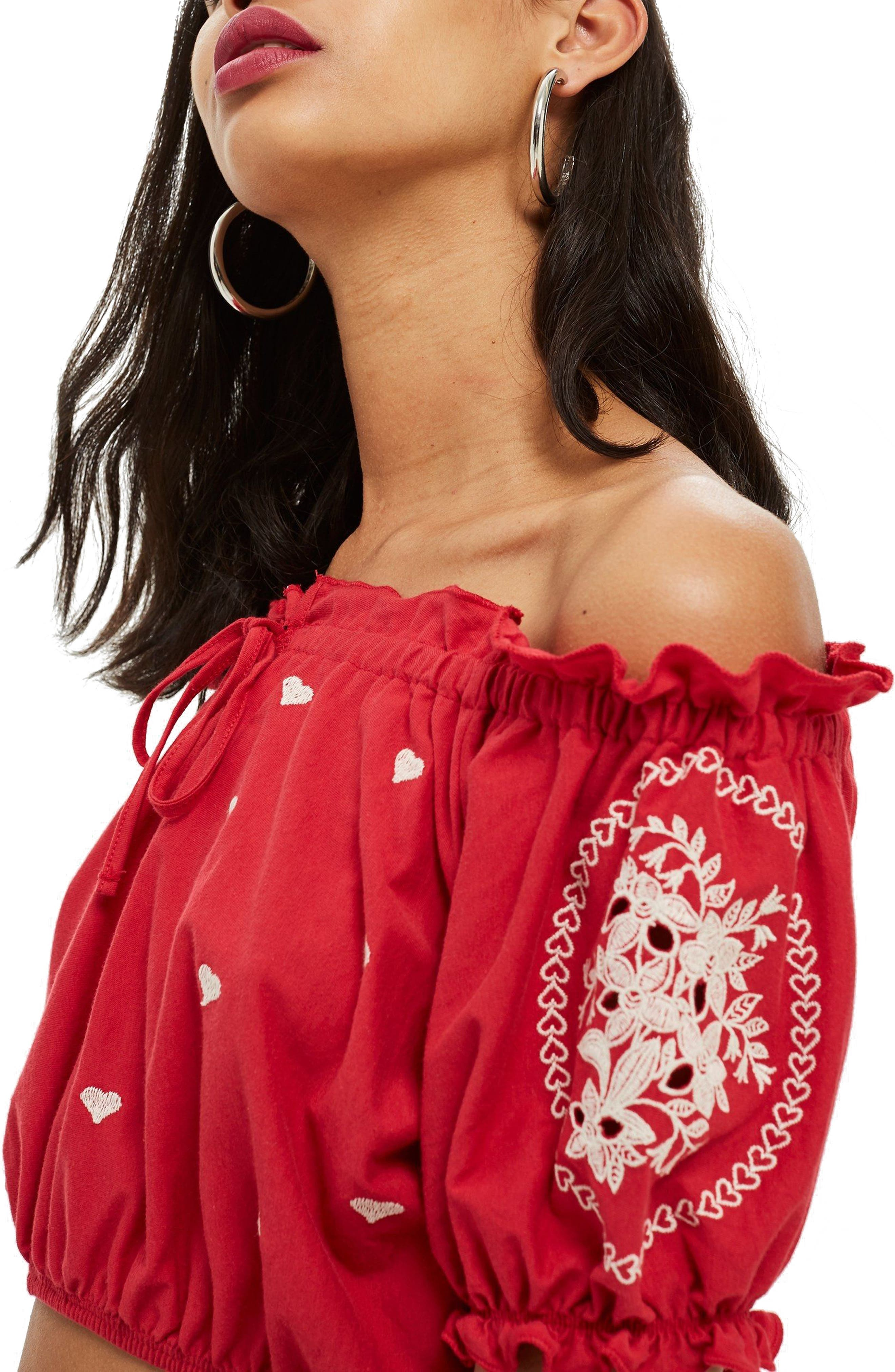 Gypsy Embroidered Crop Top,                             Alternate thumbnail 3, color,                             Red Multi