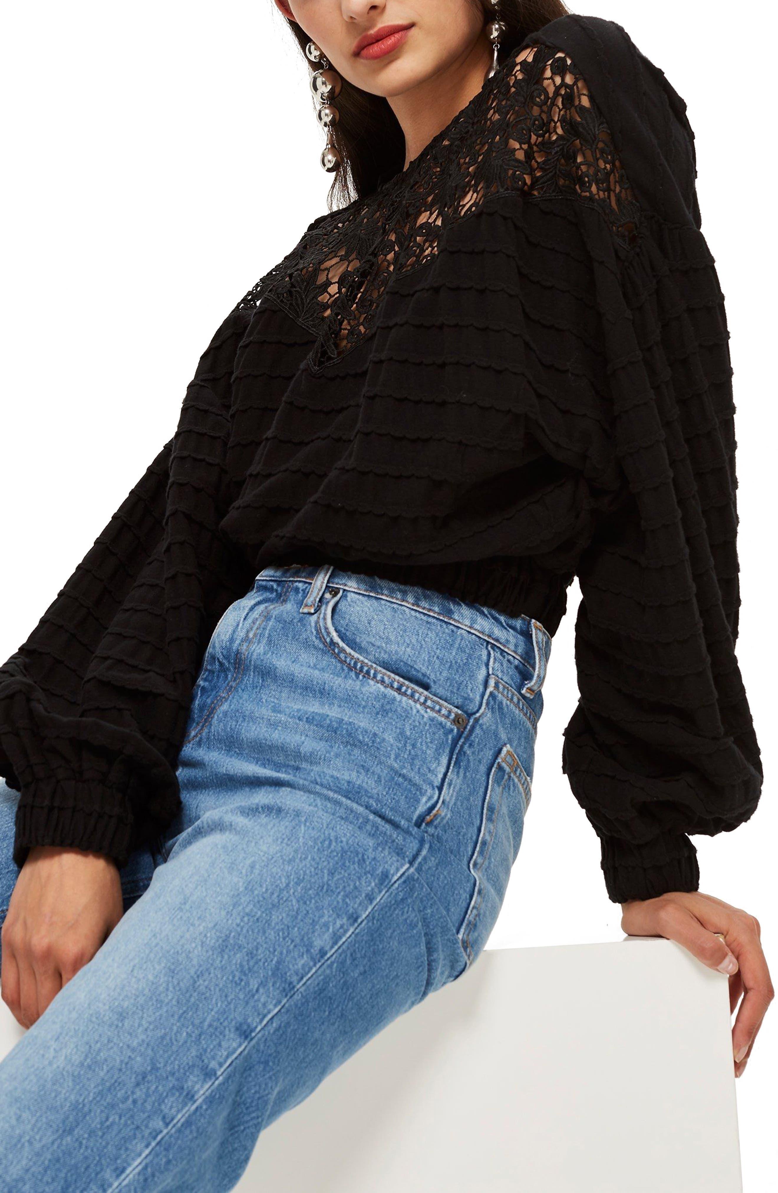 Crochet Inset Top,                             Main thumbnail 1, color,                             Black