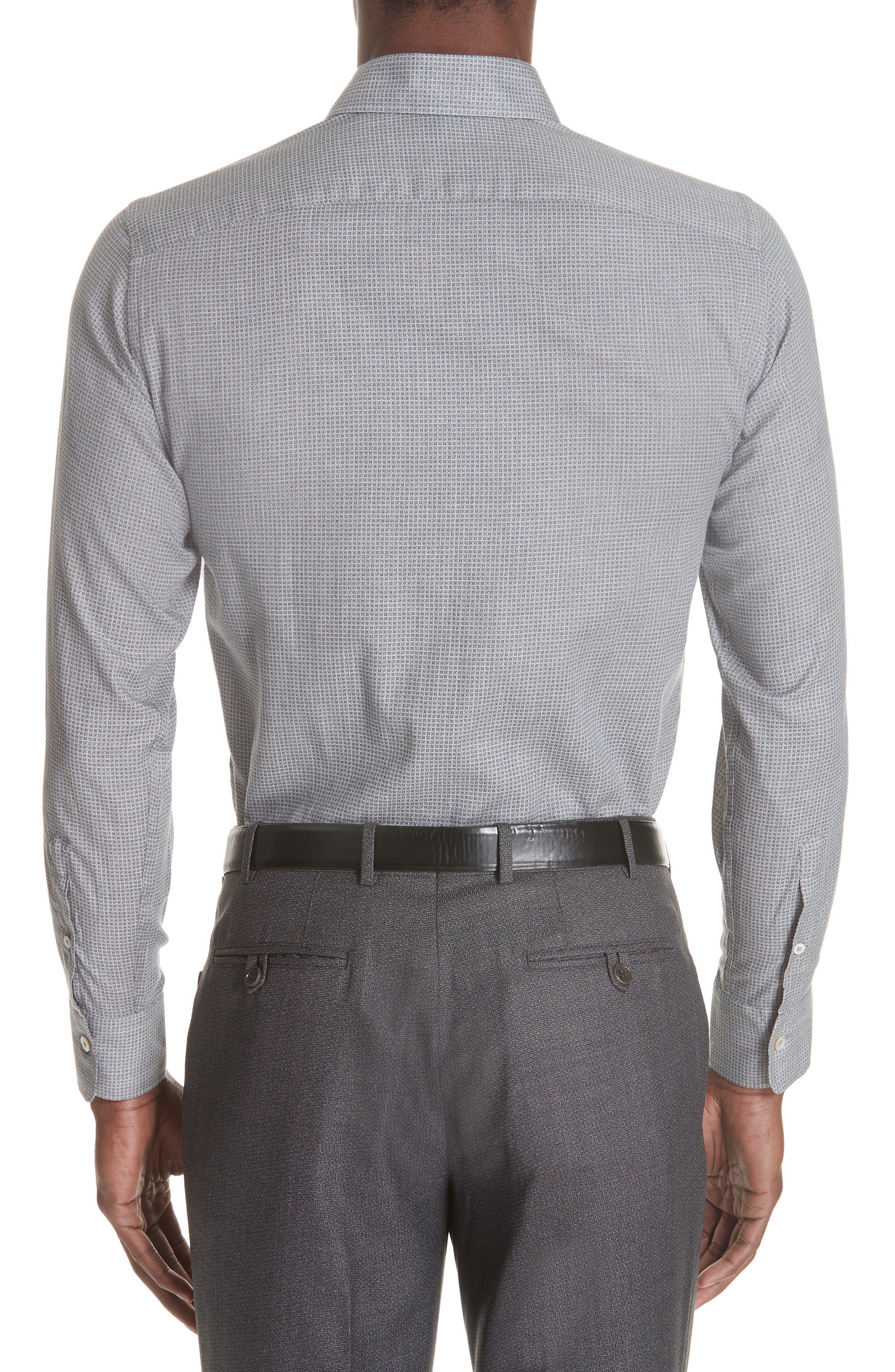 Classic Fit Geometric Dress Shirt,                             Alternate thumbnail 3, color,                             Grey