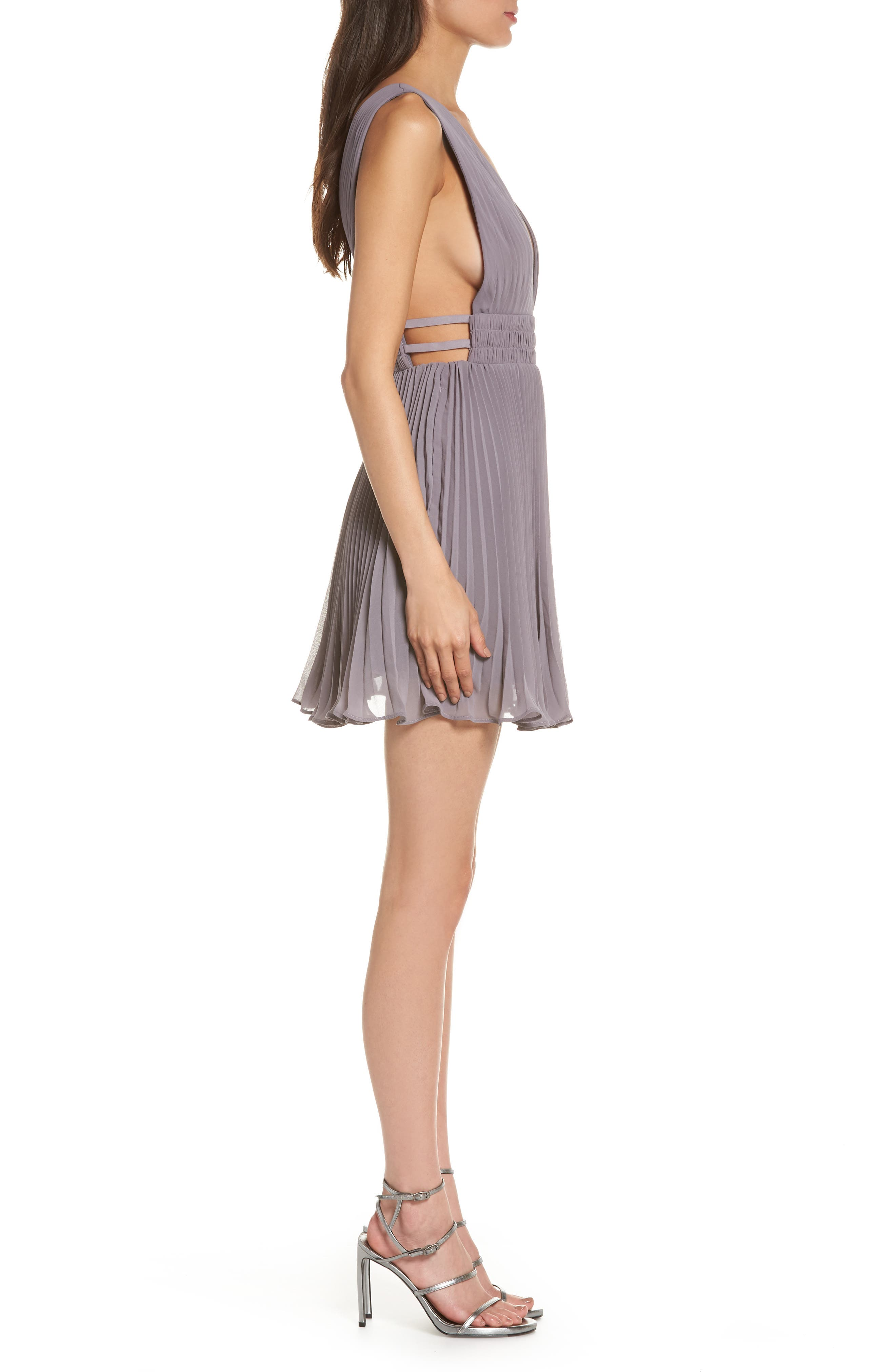 Fame & Partners The Briella Fit & Flare Pleat Dress,                             Alternate thumbnail 3, color,                             Mid-Grey