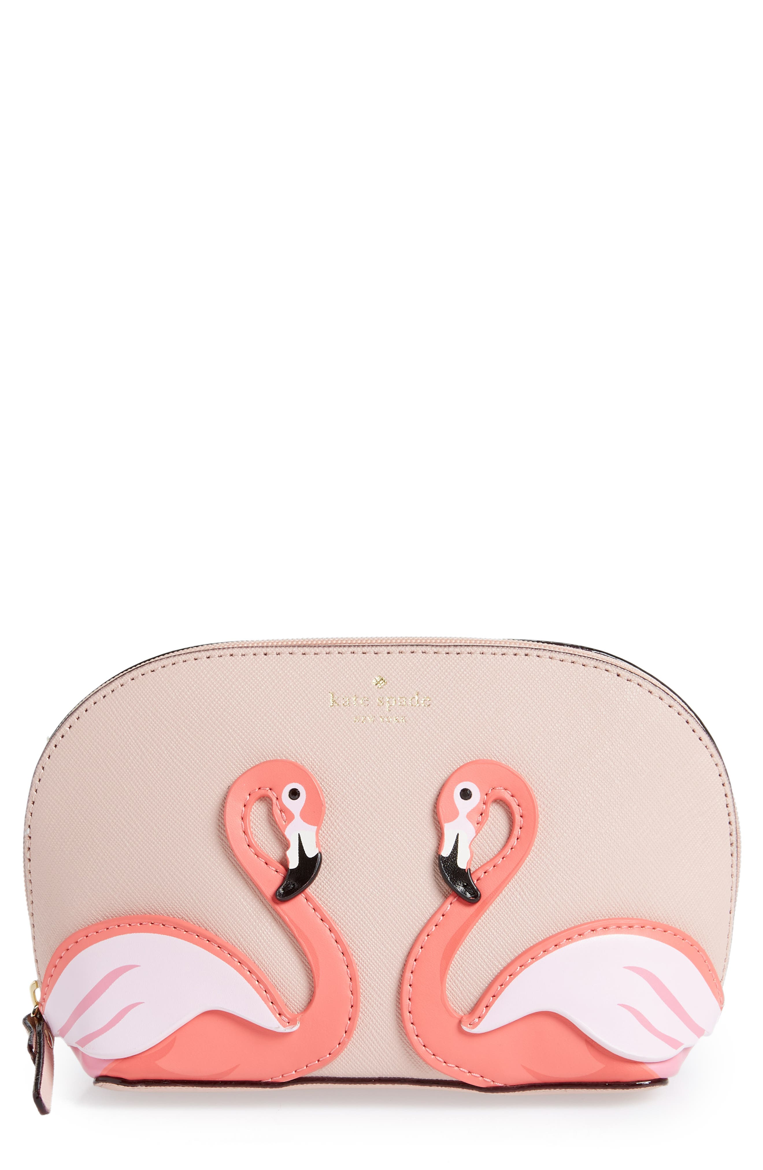 BY THE POOL FLAMINGO SMALL ABALENE LEATHER COSMETICS CASE