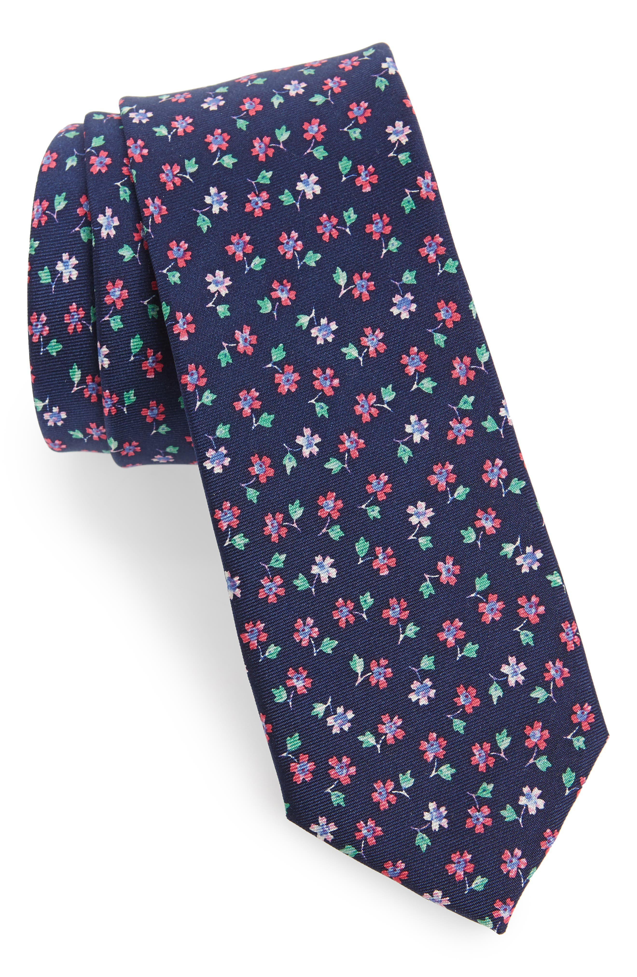 Merkley Floral Skinny Silk Tie,                             Main thumbnail 1, color,                             Navy