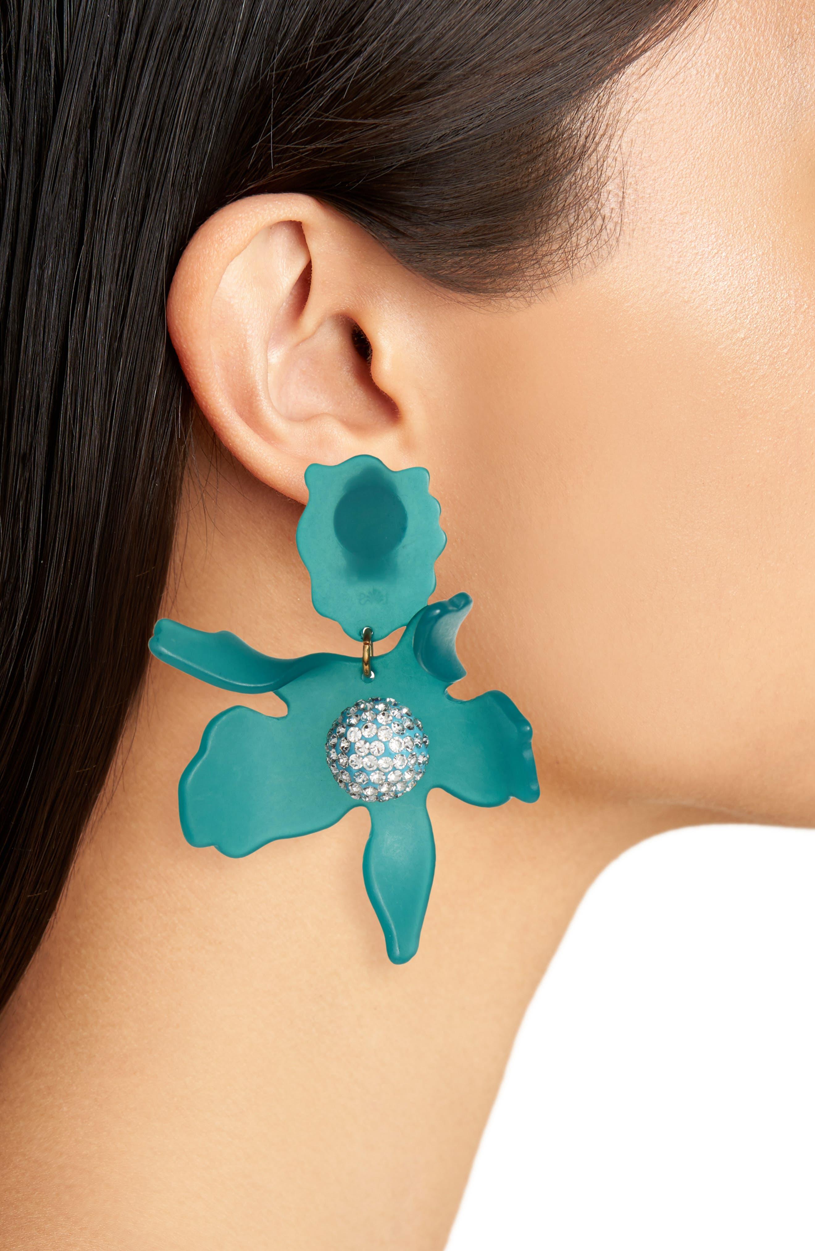 Crystal Drop Earrings,                             Alternate thumbnail 2, color,                             Lagoon Blue