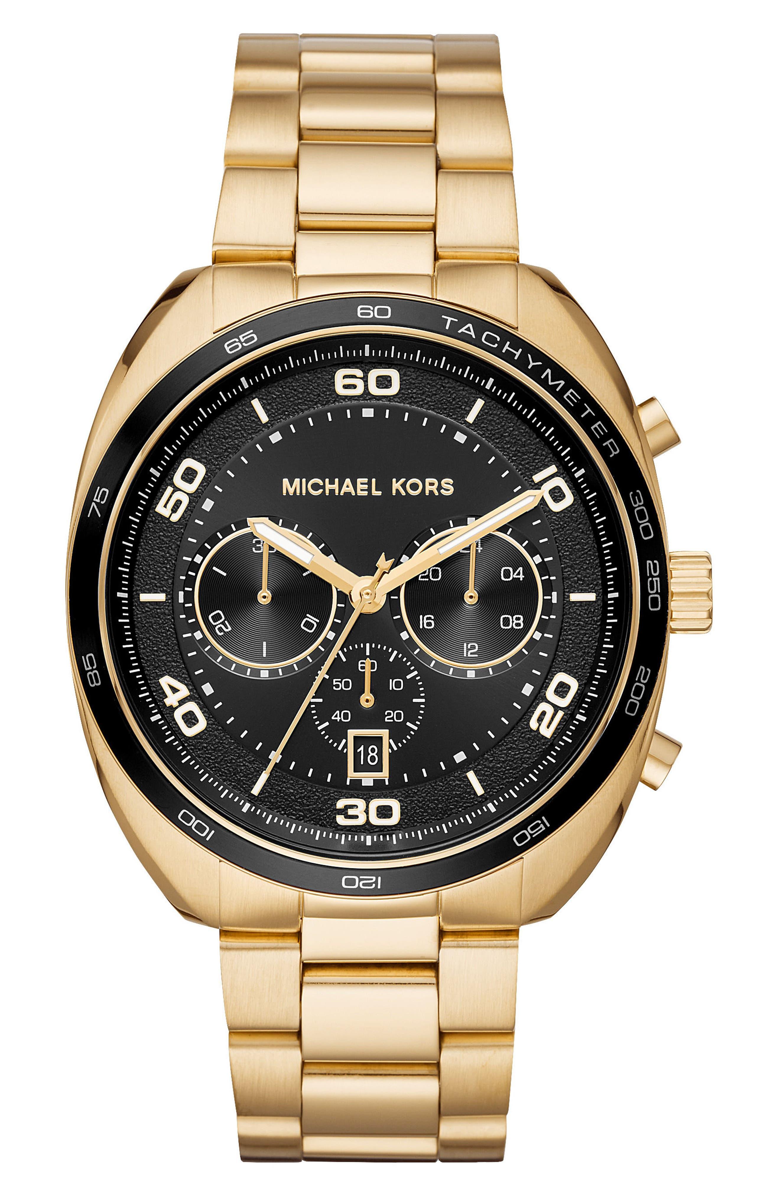 Dane Chronograph Bracelet Watch, 43mm,                         Main,                         color, Gold/ Black/ Gold