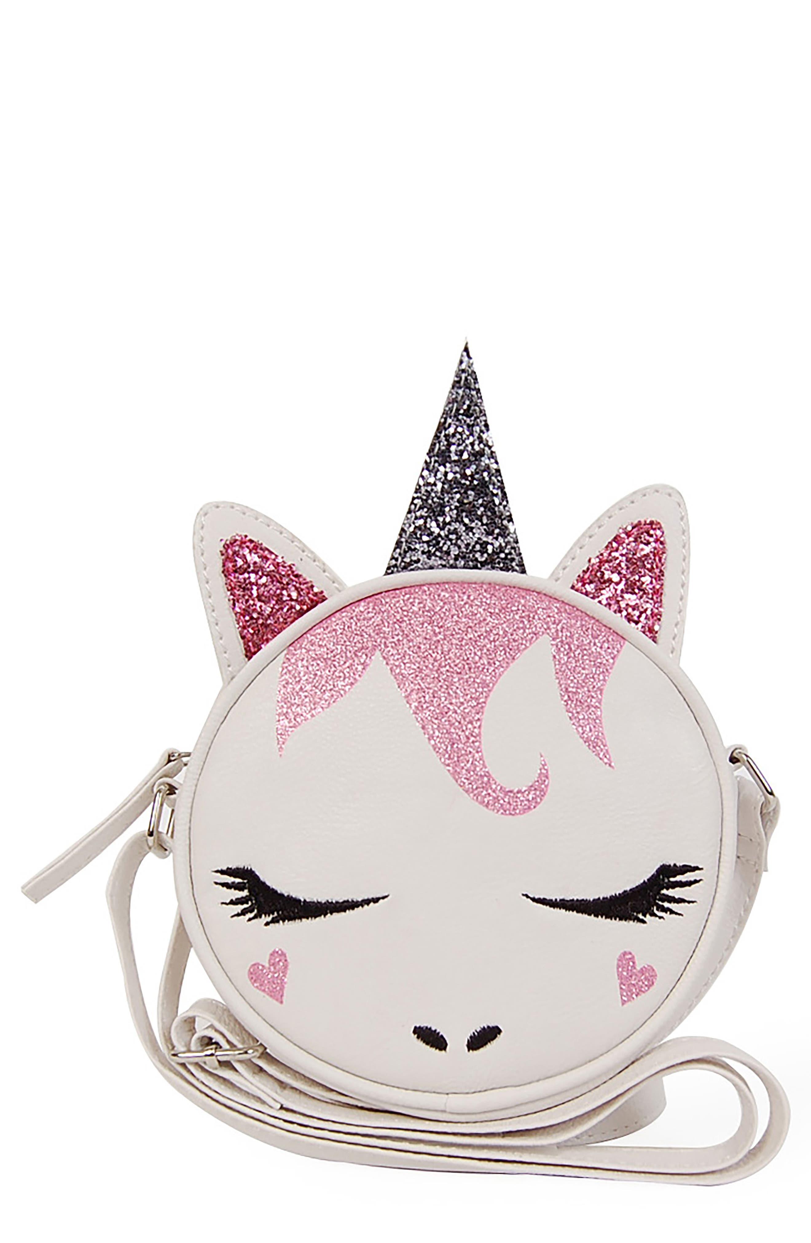 Glitter Unicorn Crossbody Bag,                             Main thumbnail 1, color,                             White