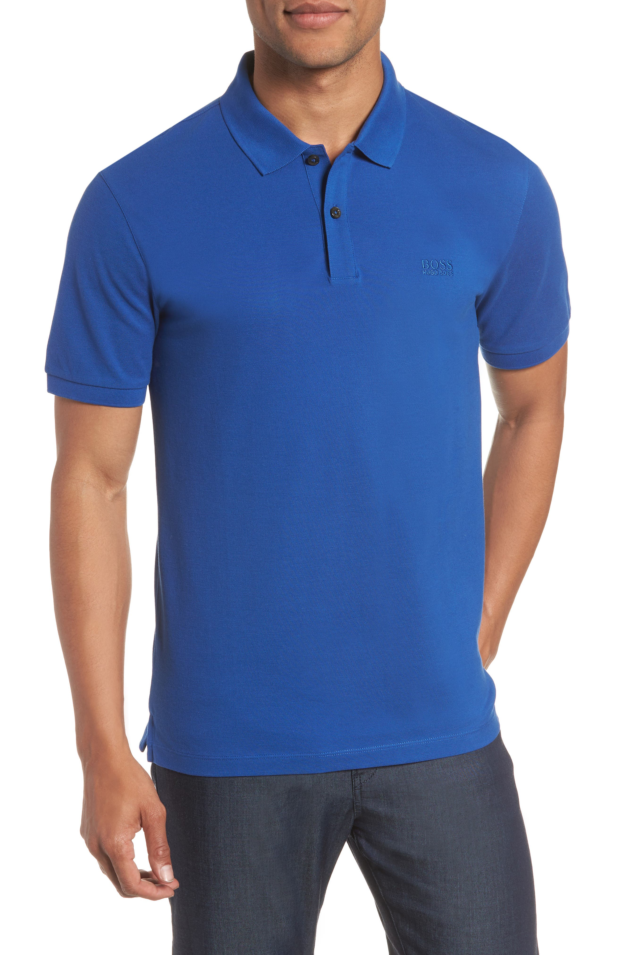 'Pallas' Regular Fit Logo Embroidered Polo Shirt,                             Main thumbnail 1, color,                             Open Blue