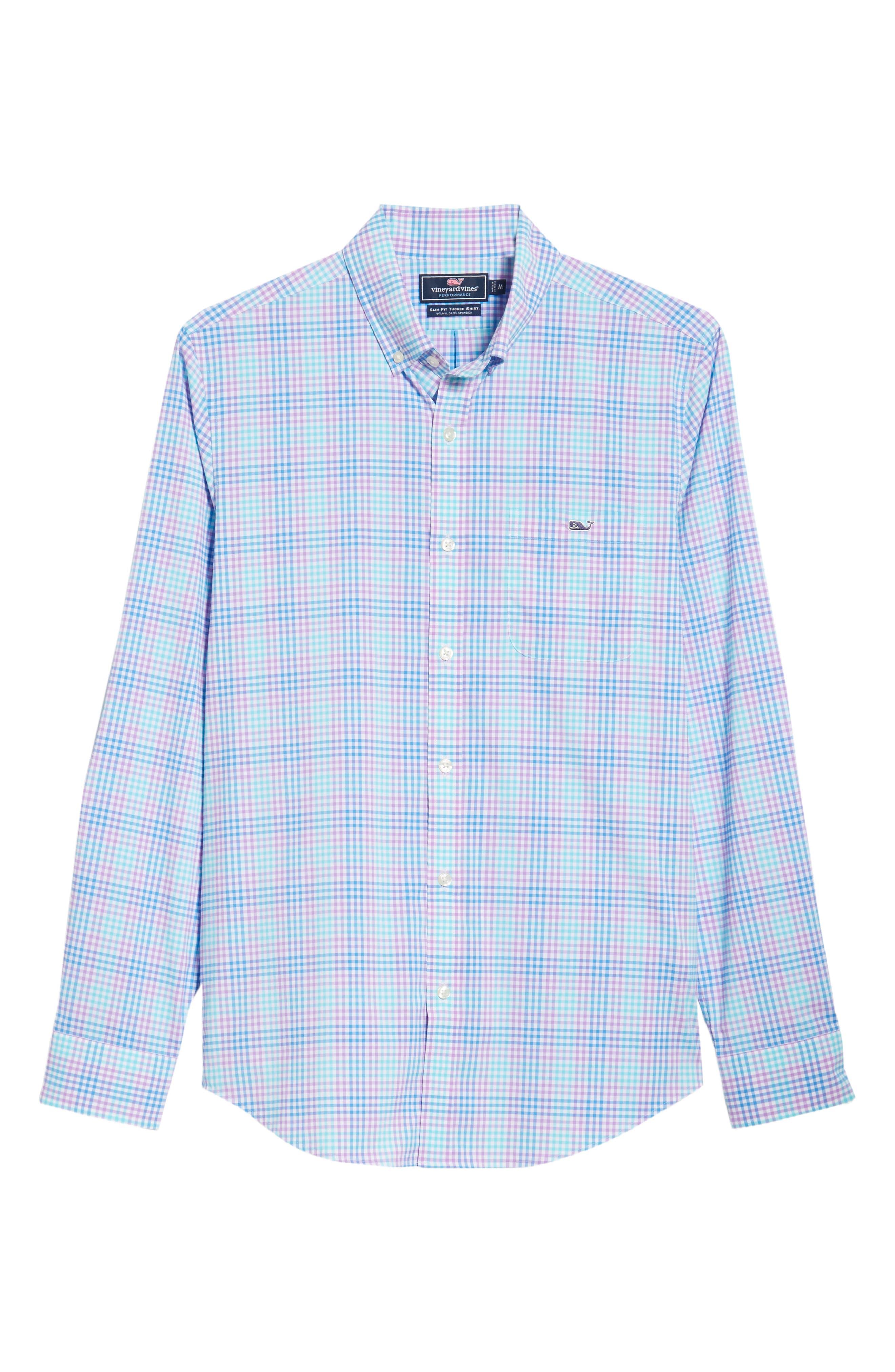 Ridge Hill Slim Fit Check Performance Sport Shirt,                             Alternate thumbnail 6, color,                             Turquoise