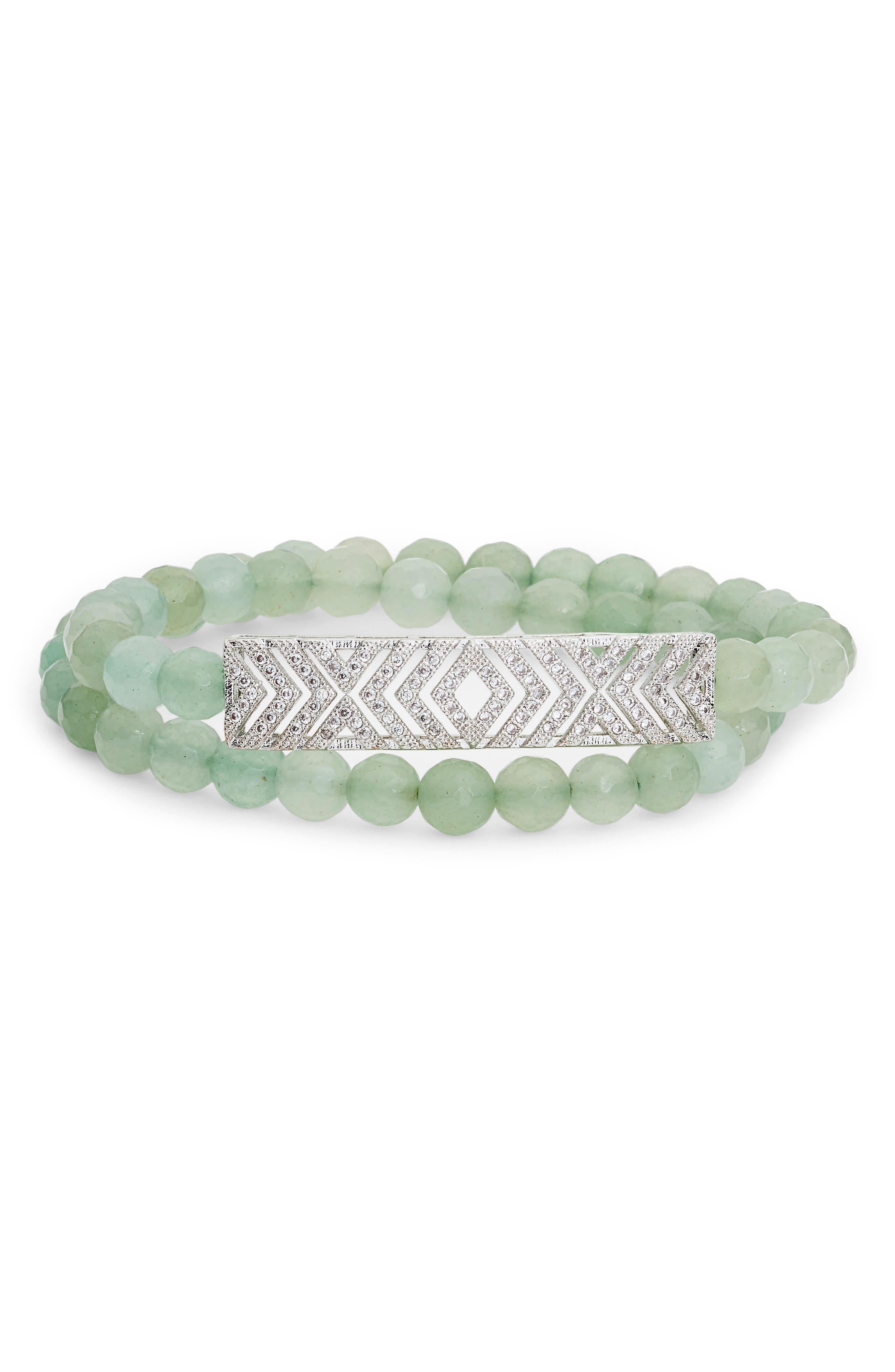 Stone & Pavé Bar Double Wrap Bracelet,                         Main,                         color, Bar/ Jade