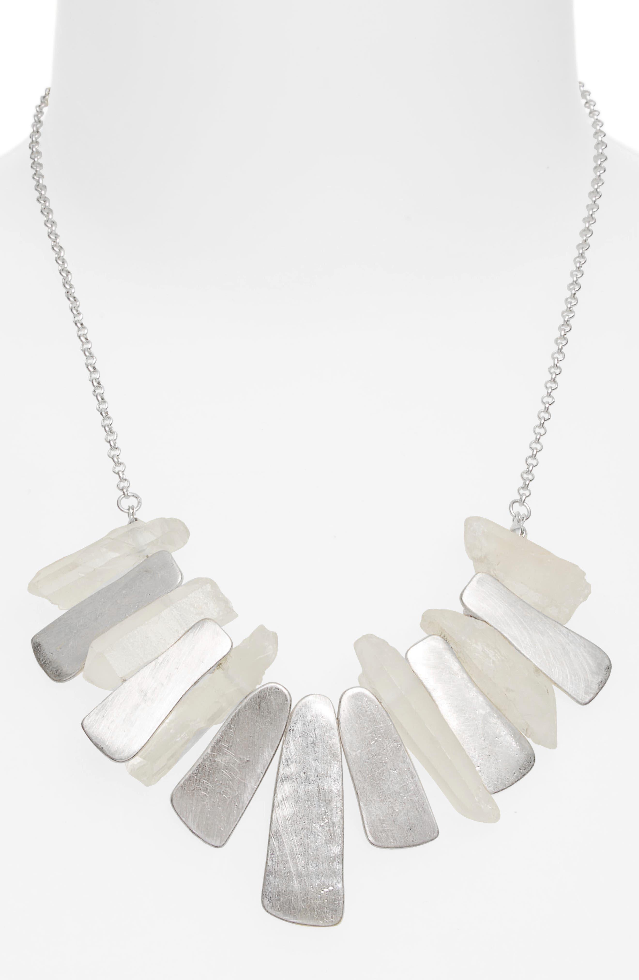 Pyrite Stone Necklace,                             Alternate thumbnail 2, color,                             White/ Silver