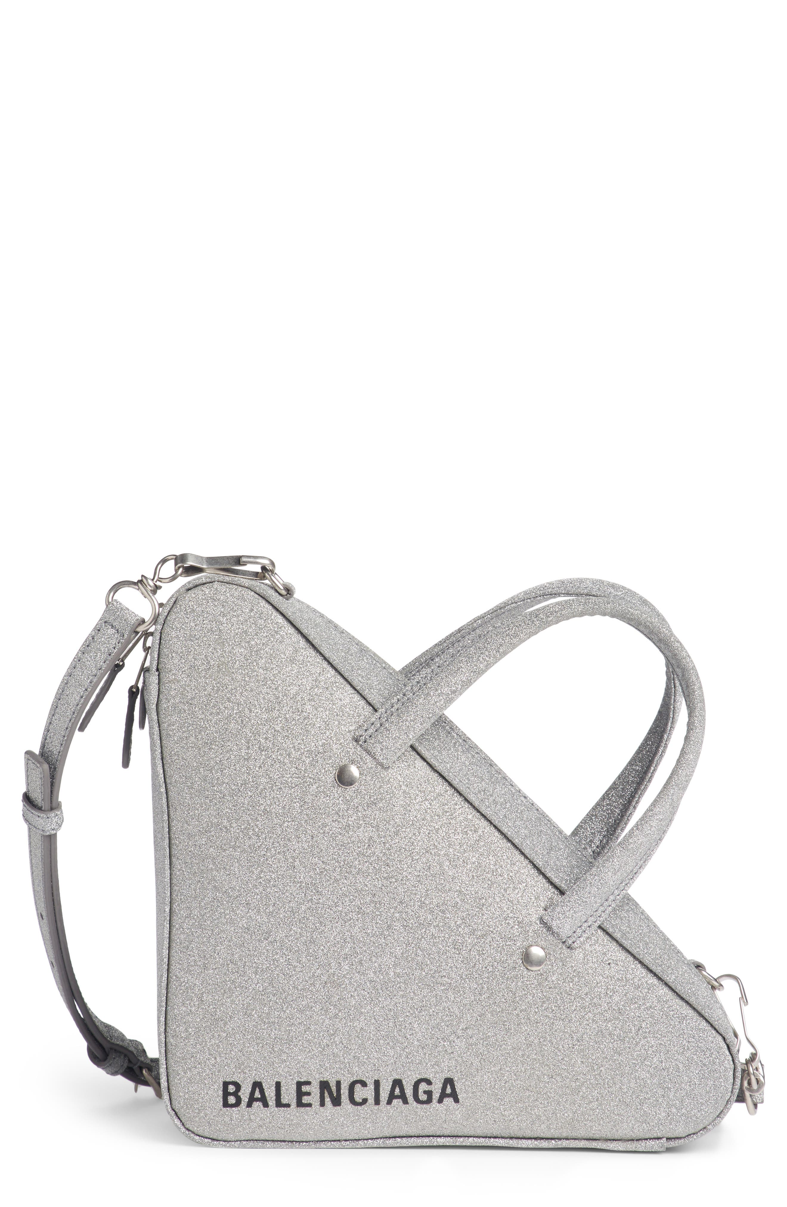Extra Small Glitter Triangle Leather Bag,                         Main,                         color, Argent/ Noir