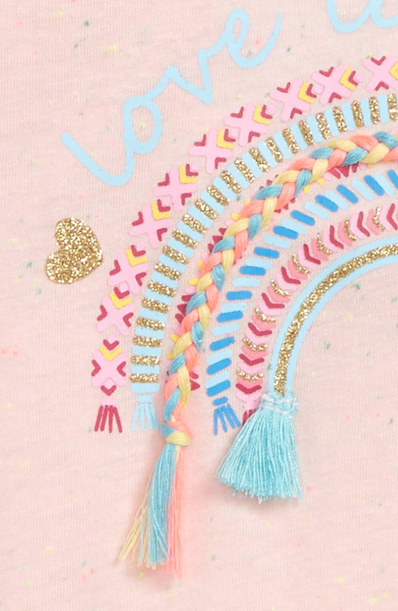 Love Glitter Embellished Tee,                             Alternate thumbnail 3, color,                             Light Pink