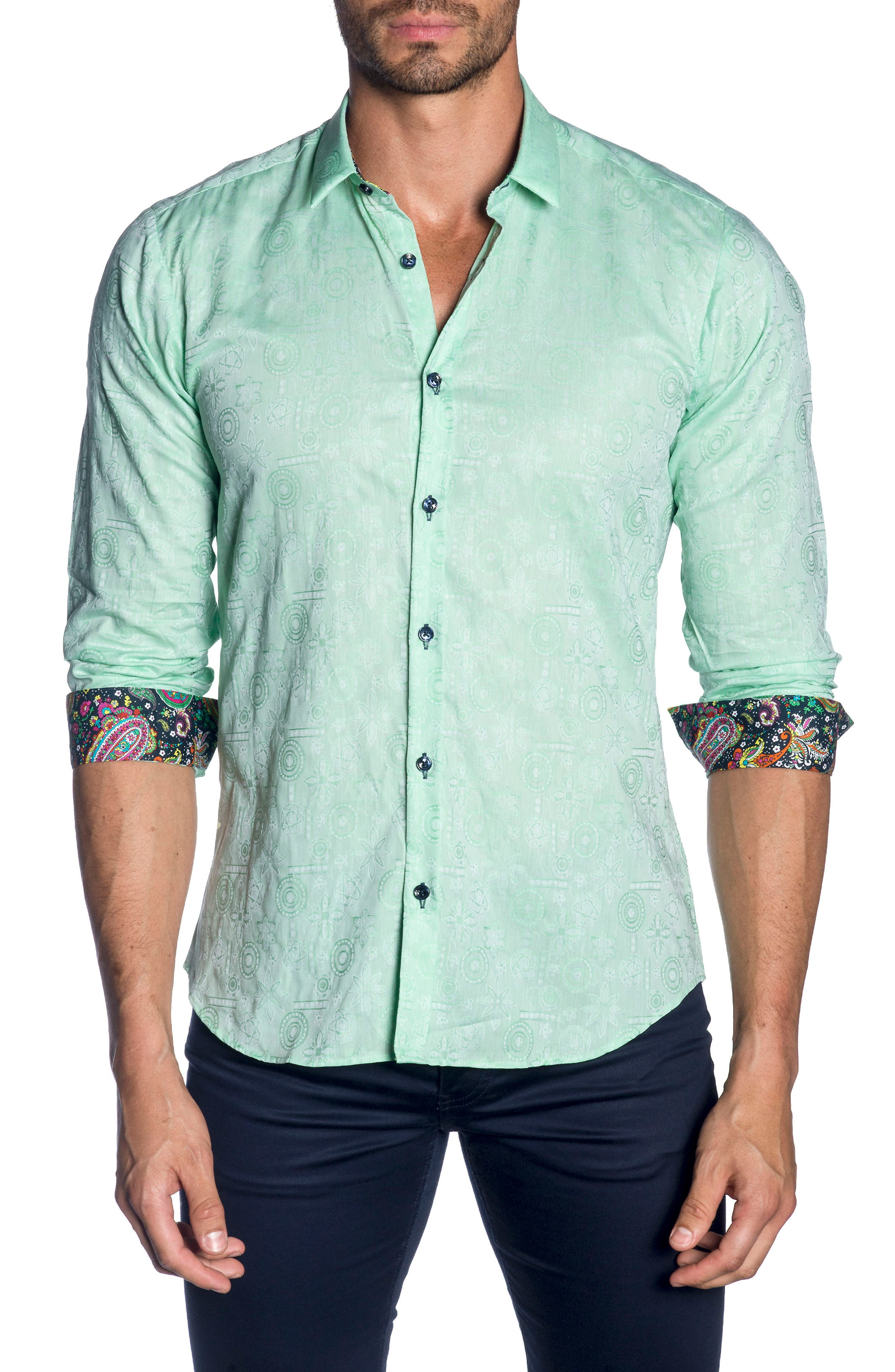 Trim Fit Sport Shirt,                             Main thumbnail 1, color,                             Green