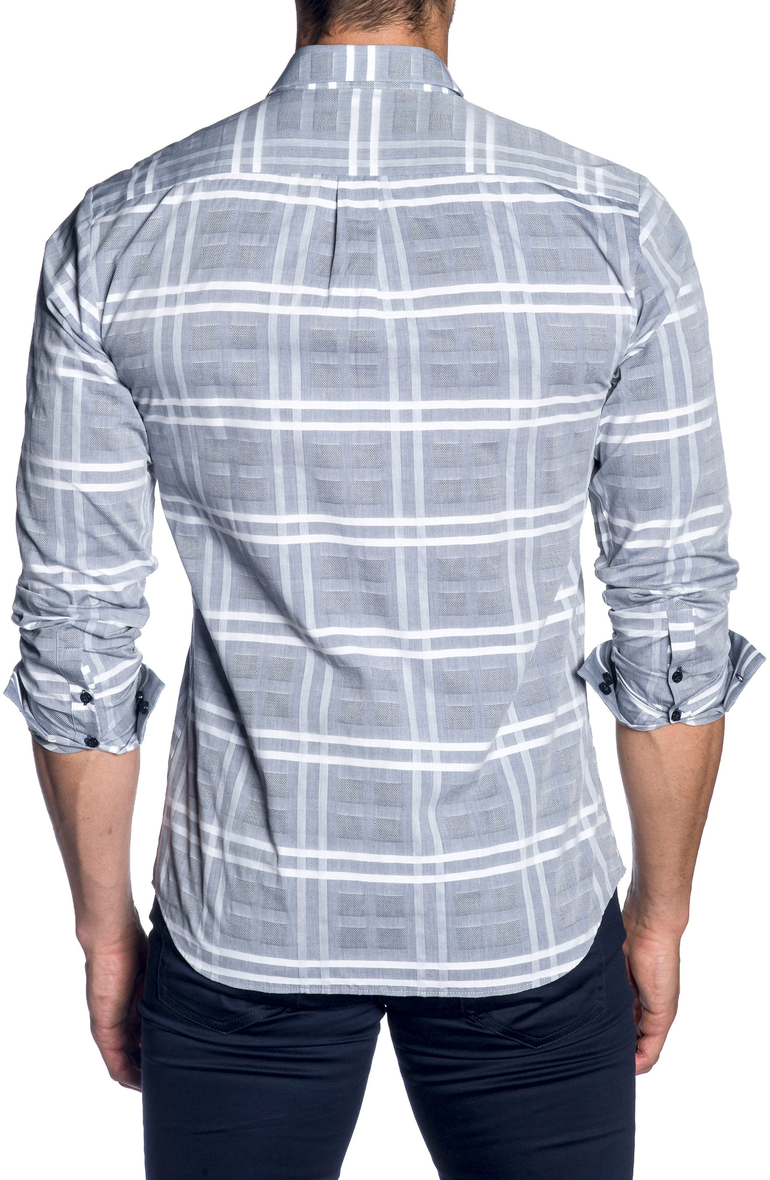 Trim Fit Sport Shirt,                             Alternate thumbnail 2, color,                             Blue Chambery Check