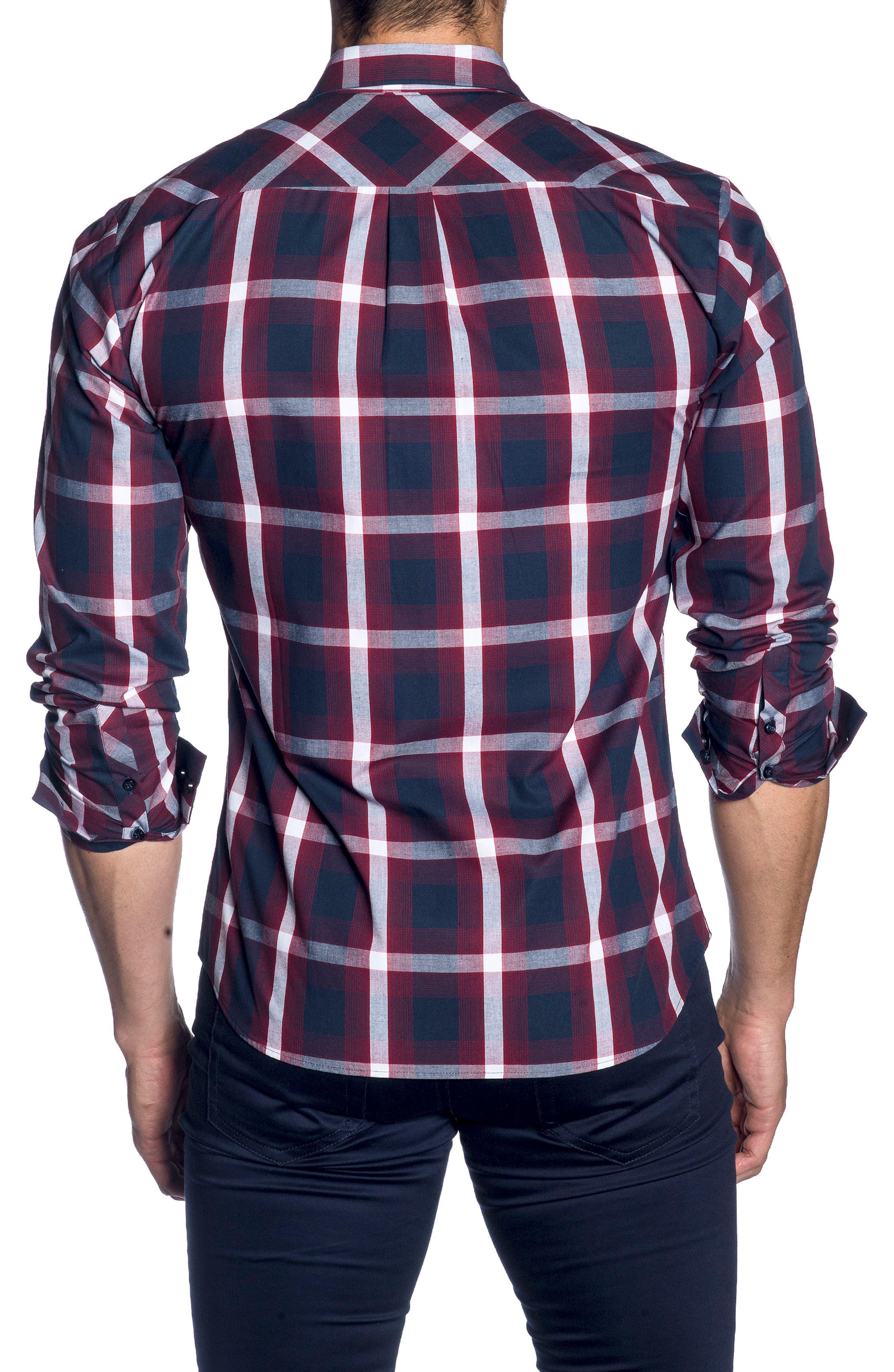 Trim Fit Sport Shirt,                             Alternate thumbnail 2, color,                             Navy Burgundy Check
