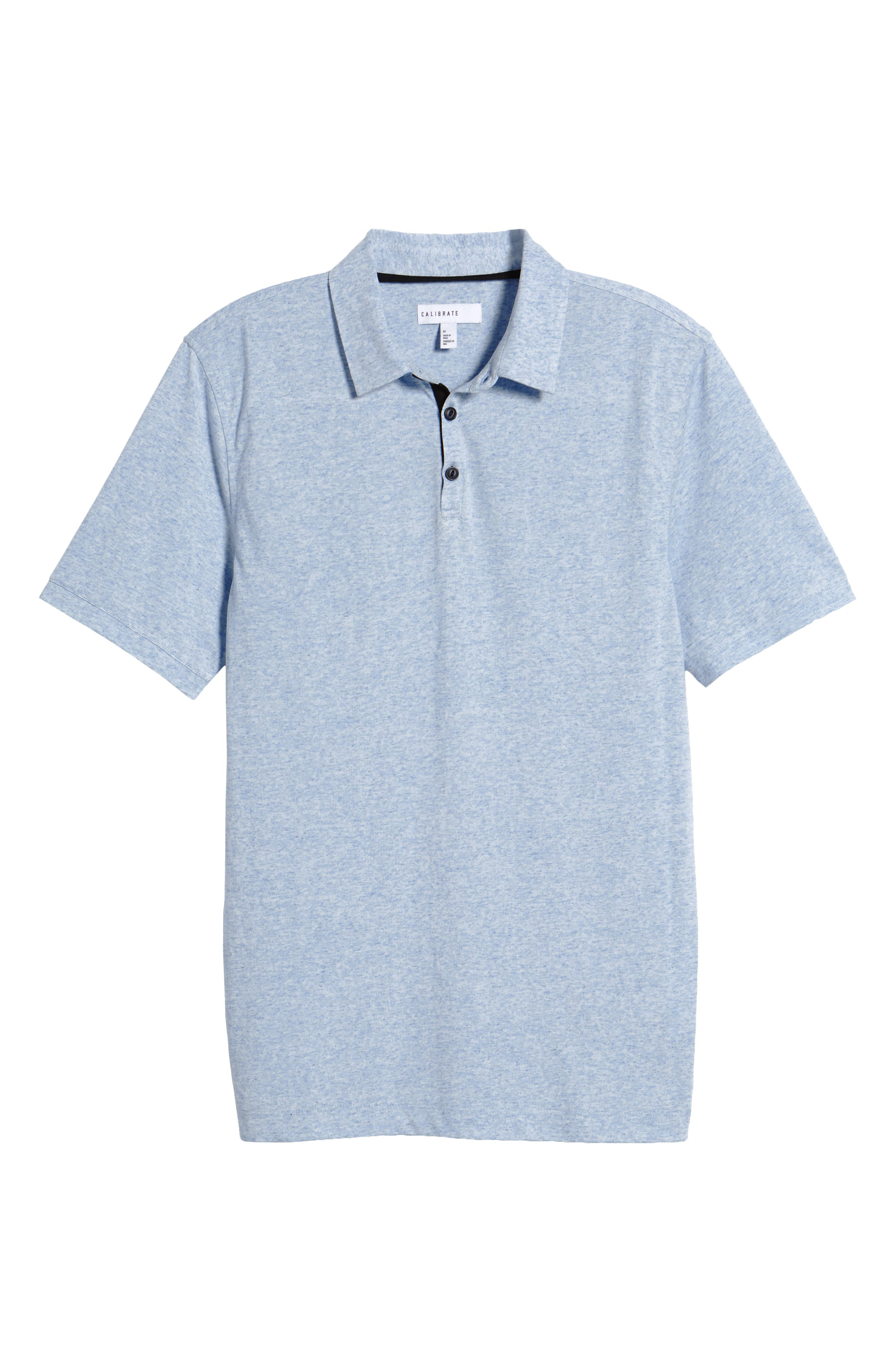 Heathered Polo,                             Alternate thumbnail 6, color,                             Blue Lake Heather