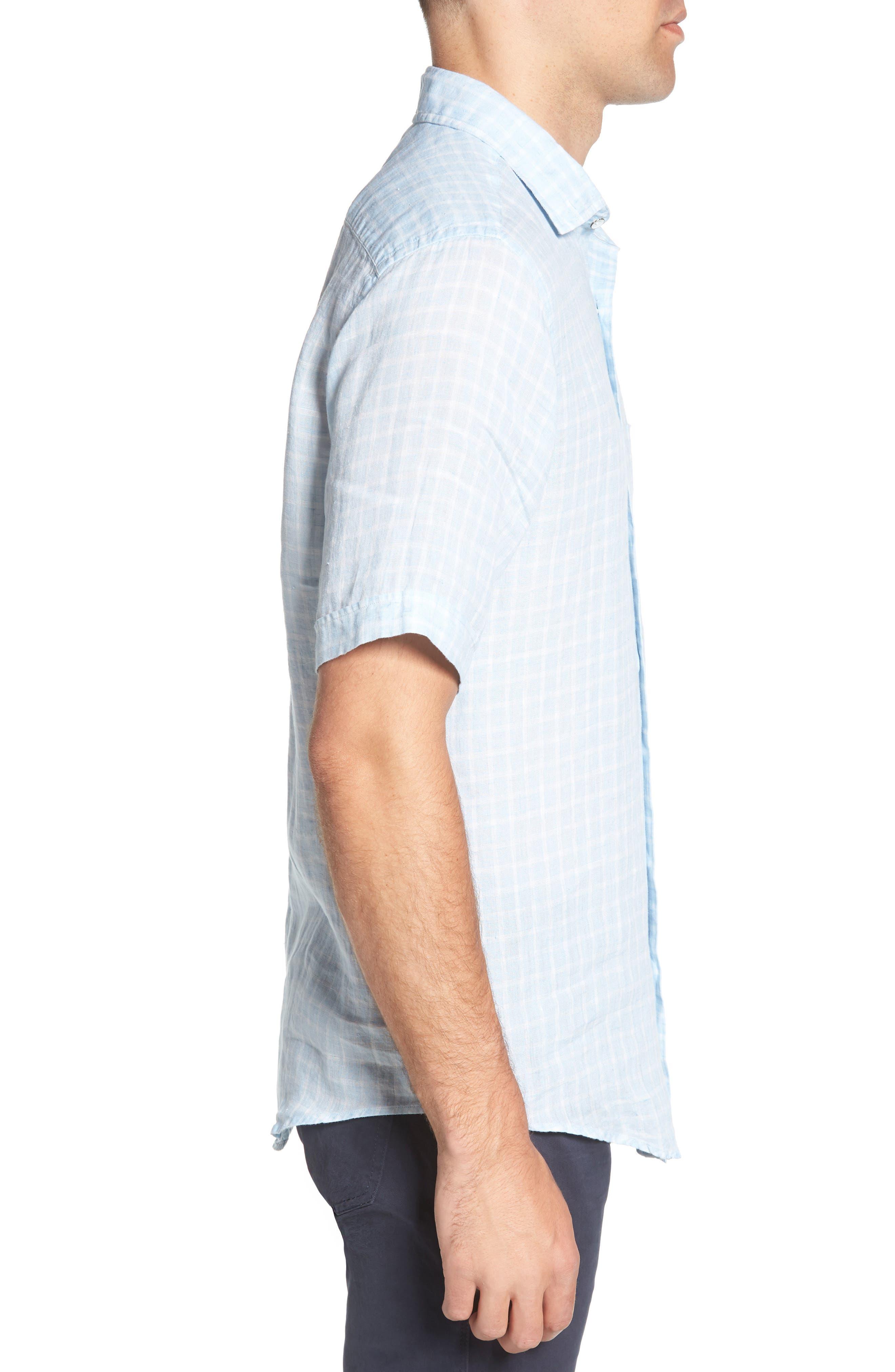 Avonside Check Linen Sport Shirt,                             Alternate thumbnail 4, color,                             Stonewash