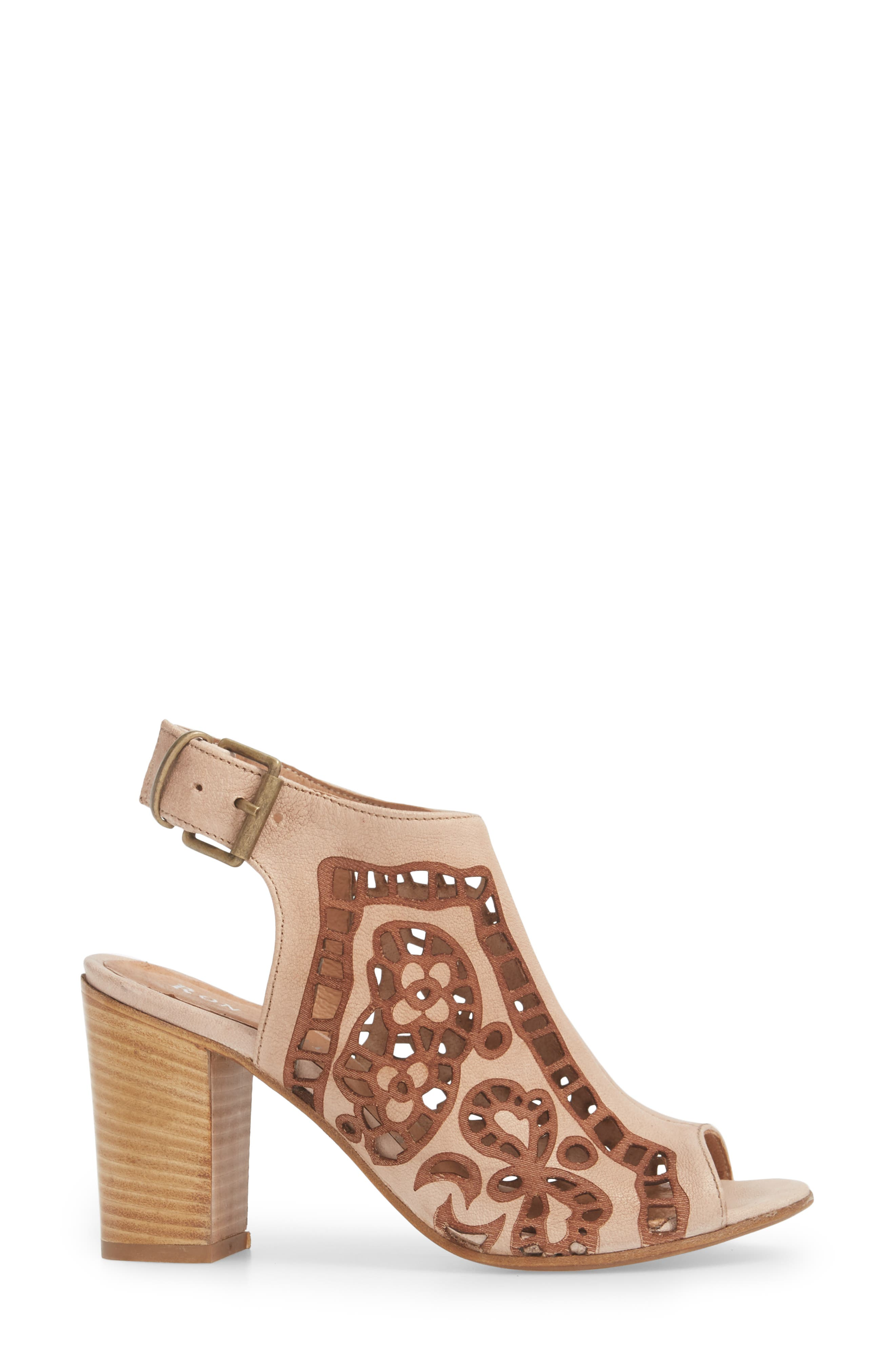 Sabrina Floral Cutout Shield Sandal,                             Alternate thumbnail 3, color,                             Blush Leather