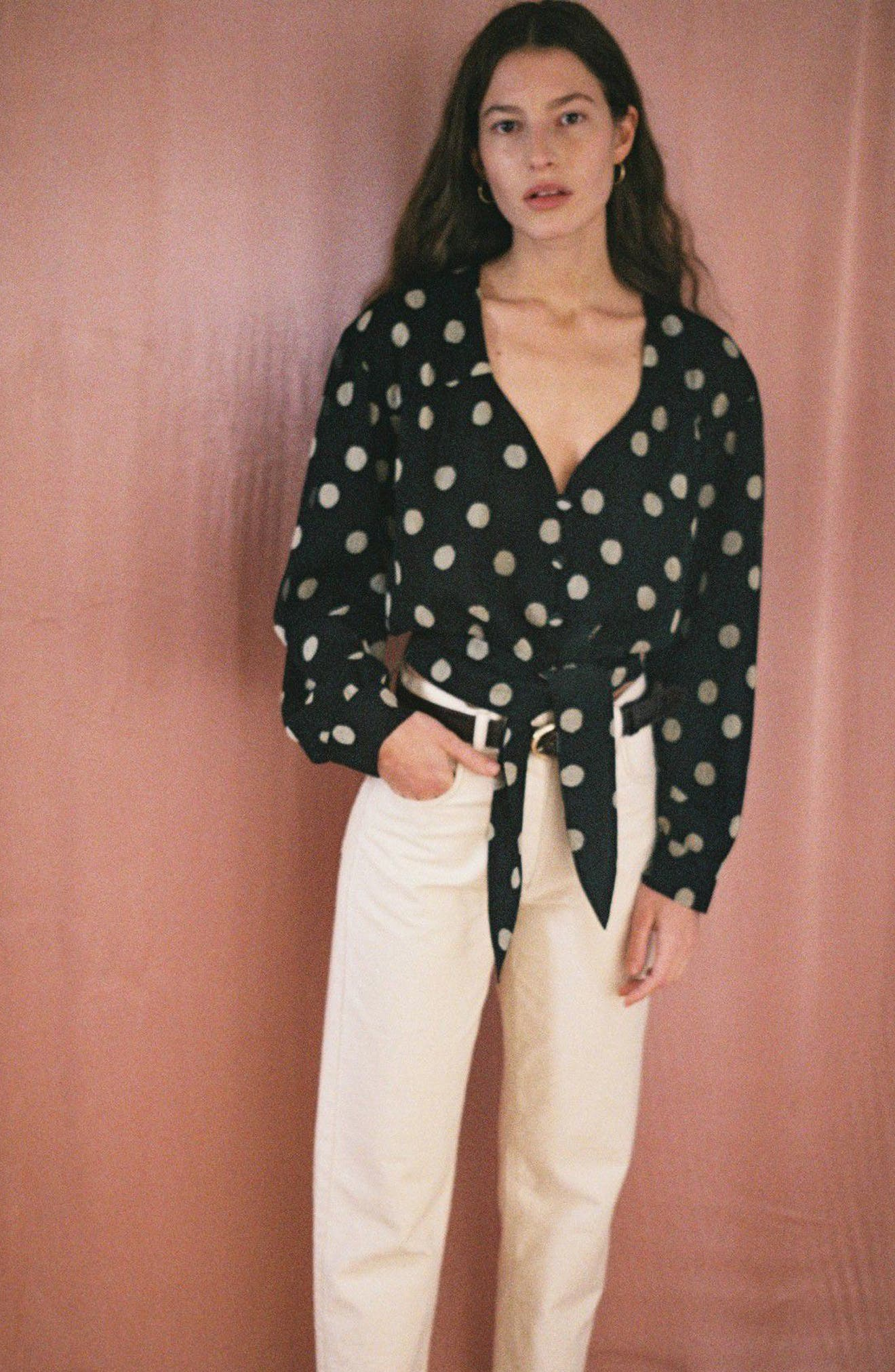Amulet Polka Dot Tech Chiffon Blouse,                             Alternate thumbnail 9, color,                             Polka Dot