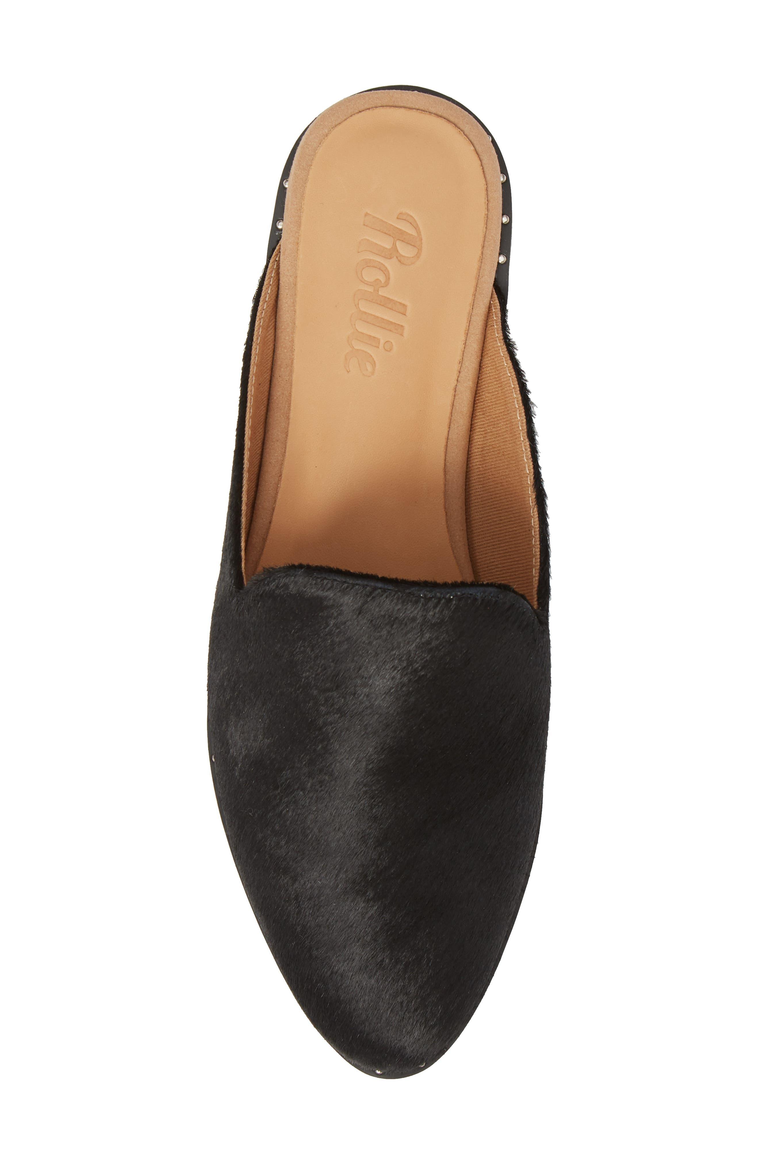 Madison Studded Genuine Calf Hair Loafer Mule,                             Alternate thumbnail 5, color,                             Black Calf Hair