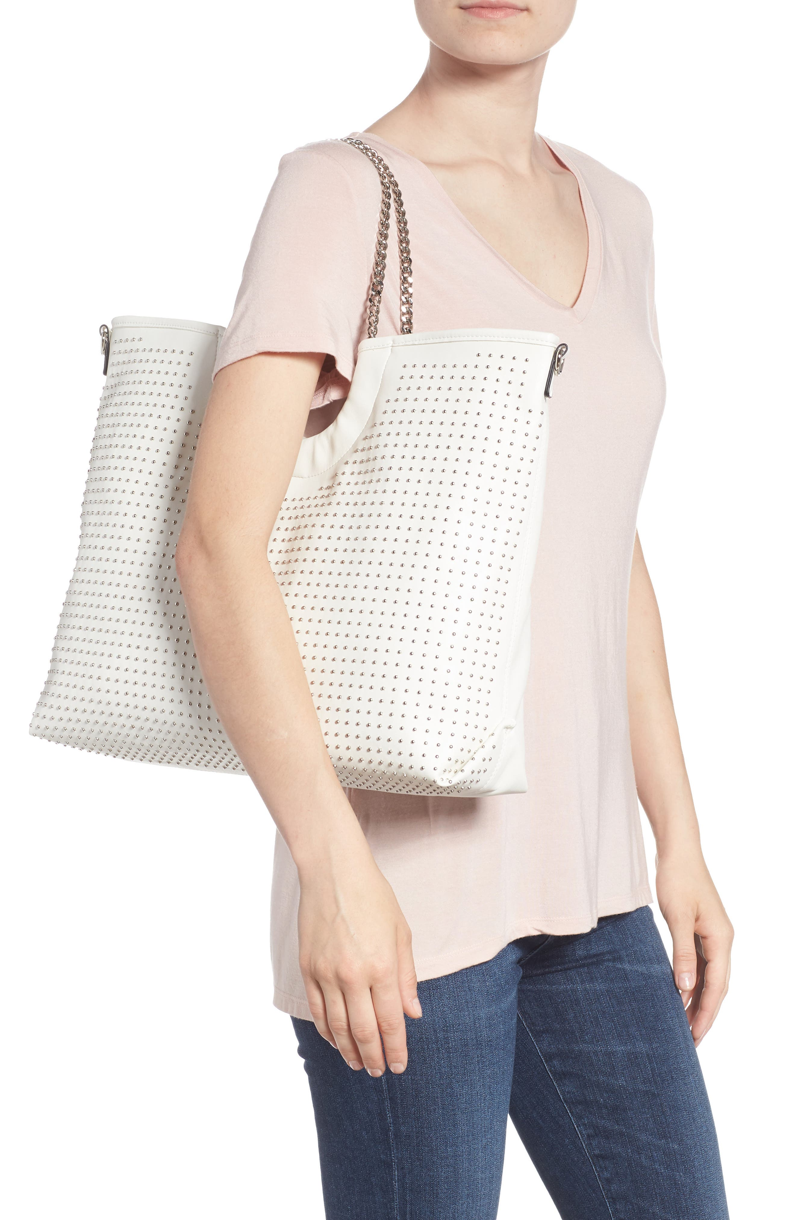 Pin Stud Faux Leather Tote,                             Alternate thumbnail 2, color,                             White