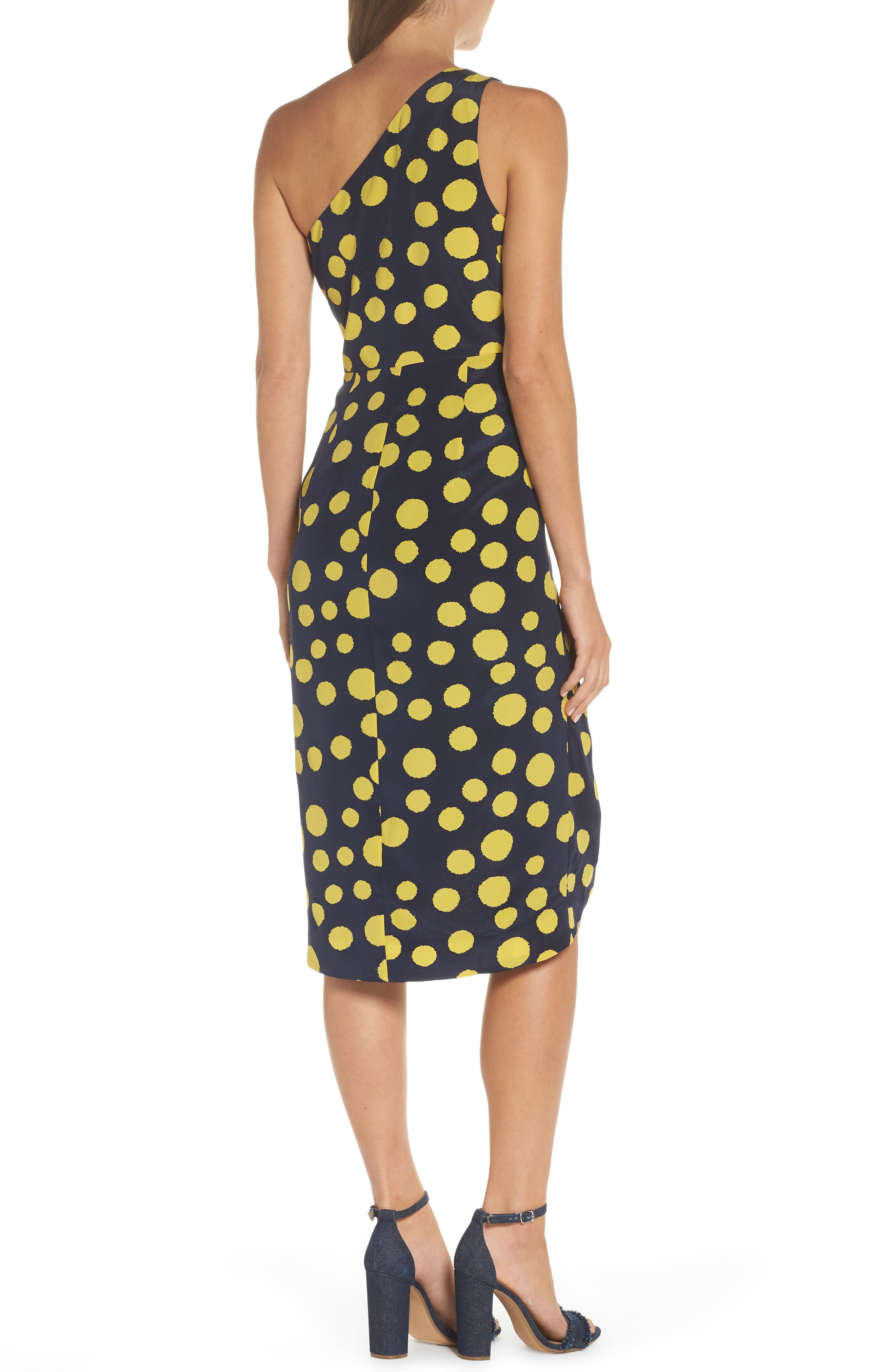 Polka Dot One-Shoulder Silk Dress,                             Alternate thumbnail 2, color,                             Navy