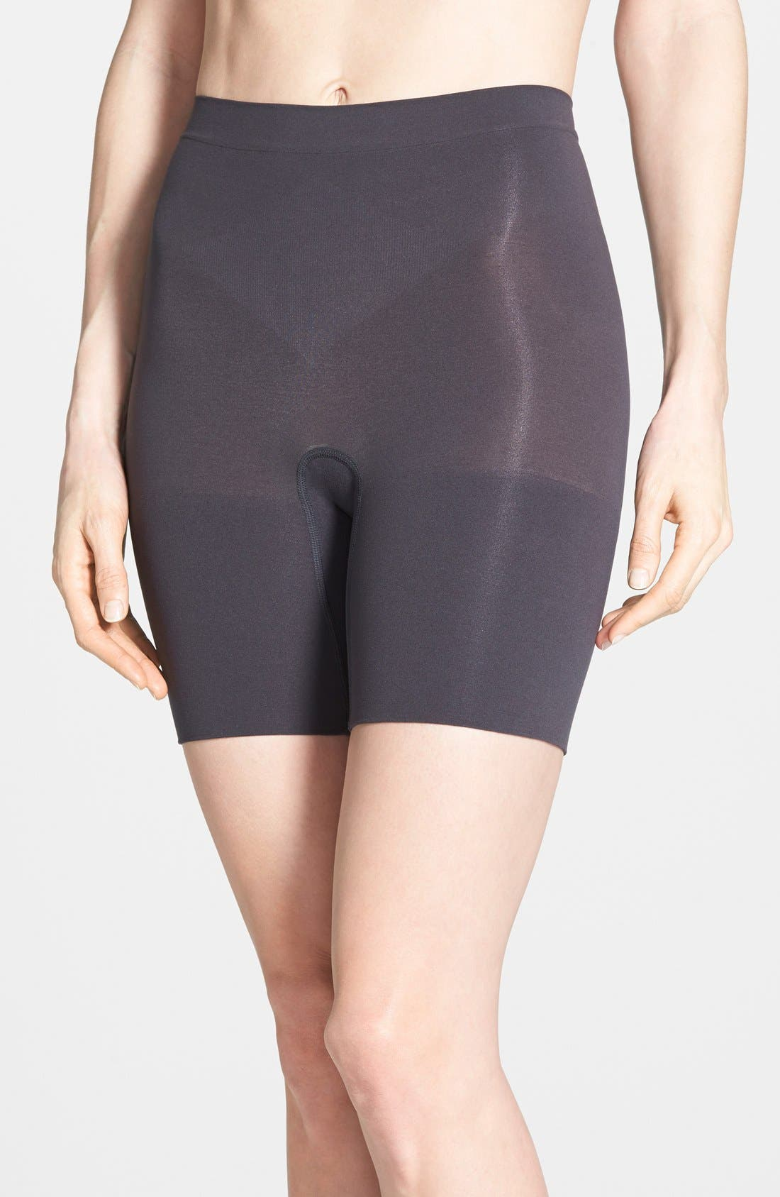 Power Short Mid Thigh Shaper,                             Main thumbnail 1, color,                             Very Black