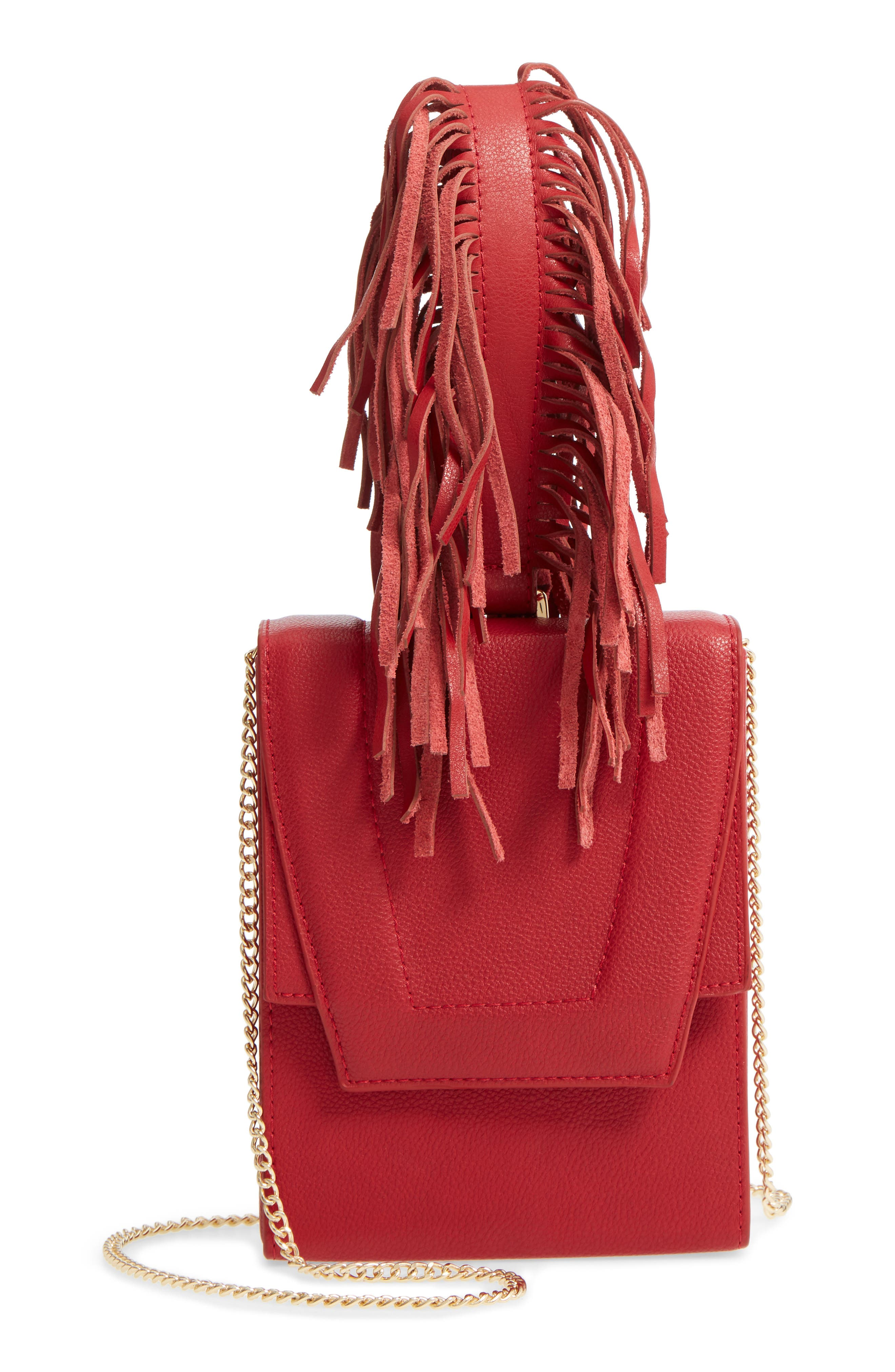 Alivia Leather Clutch,                             Main thumbnail 1, color,                             Red