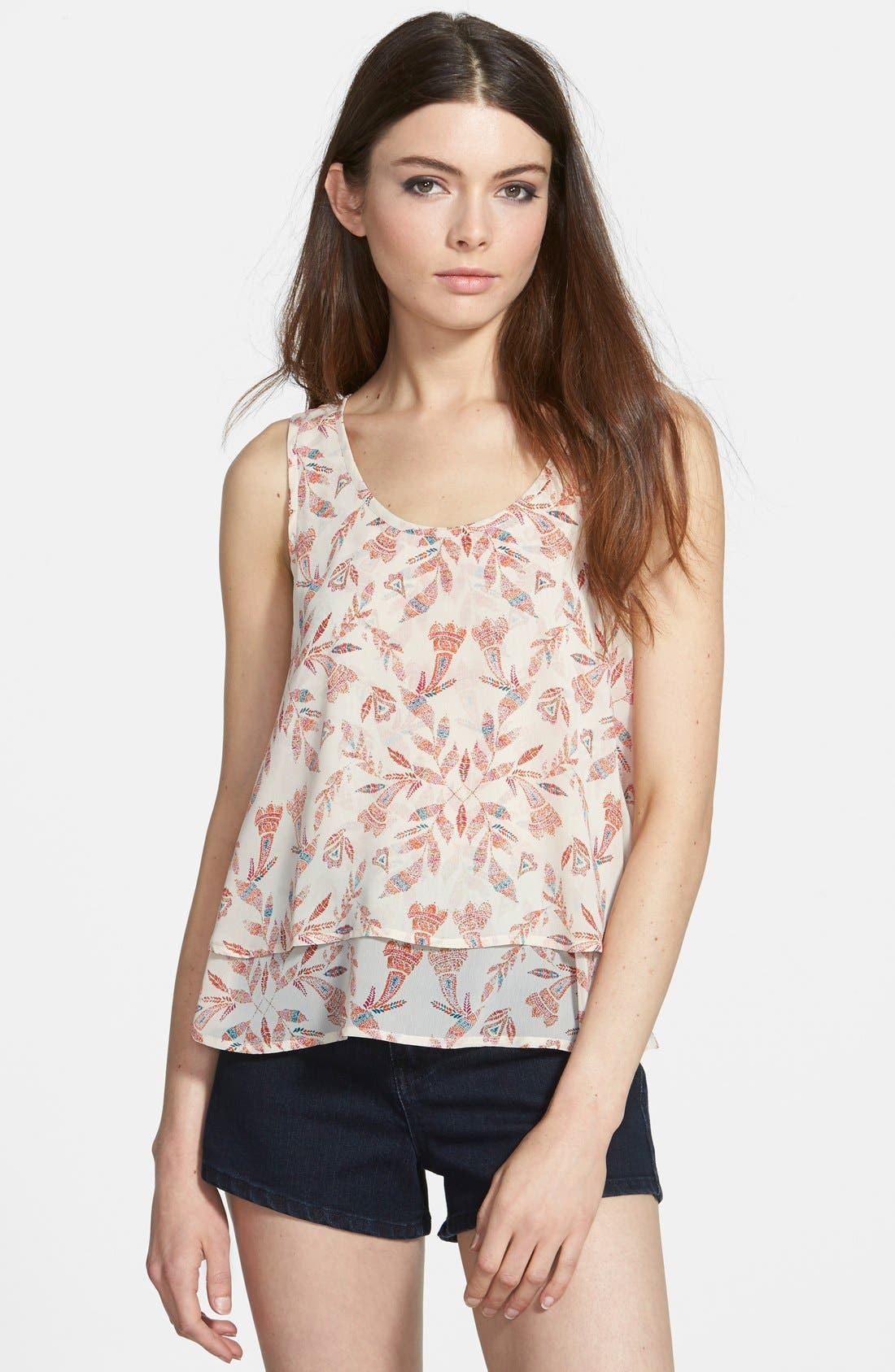 Print Layered Tank,                             Main thumbnail 1, color,                             Ivory Pearl Scattered Feather