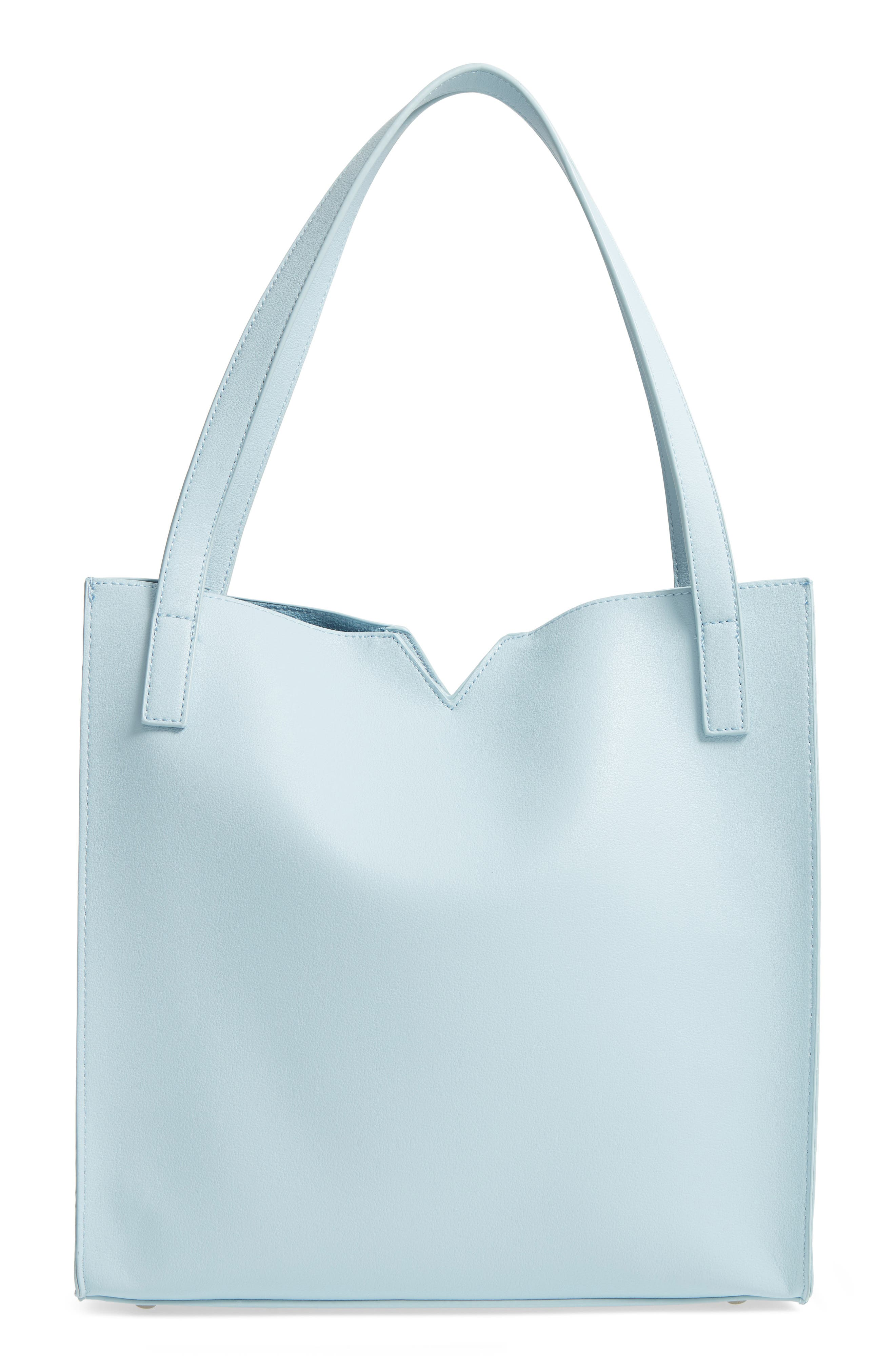 Alicia Faux Leather Tote Bag & Pouch Set,                         Main,                         color, Smokey Blue