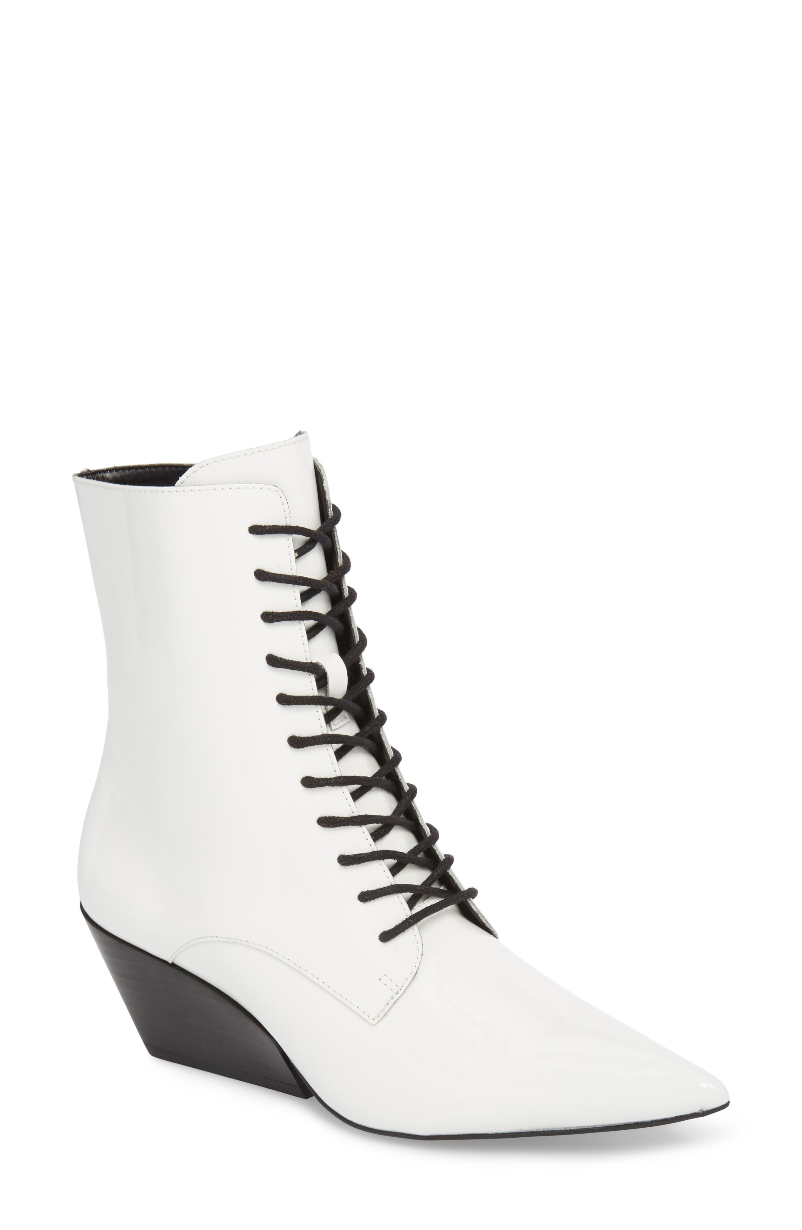 Faith Pointy Toe Laced Bootie,                             Main thumbnail 1, color,                             White Patent