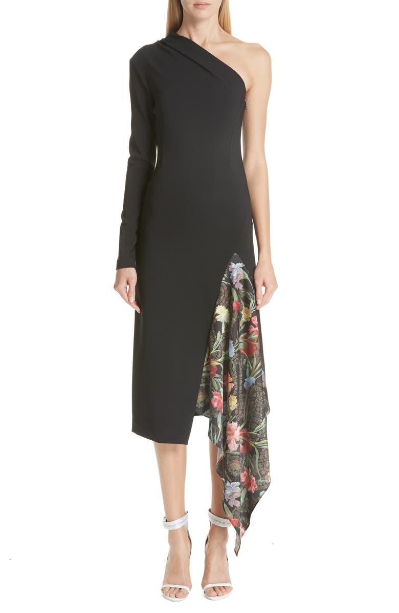 One-Shoulder Foulard Inset Dress