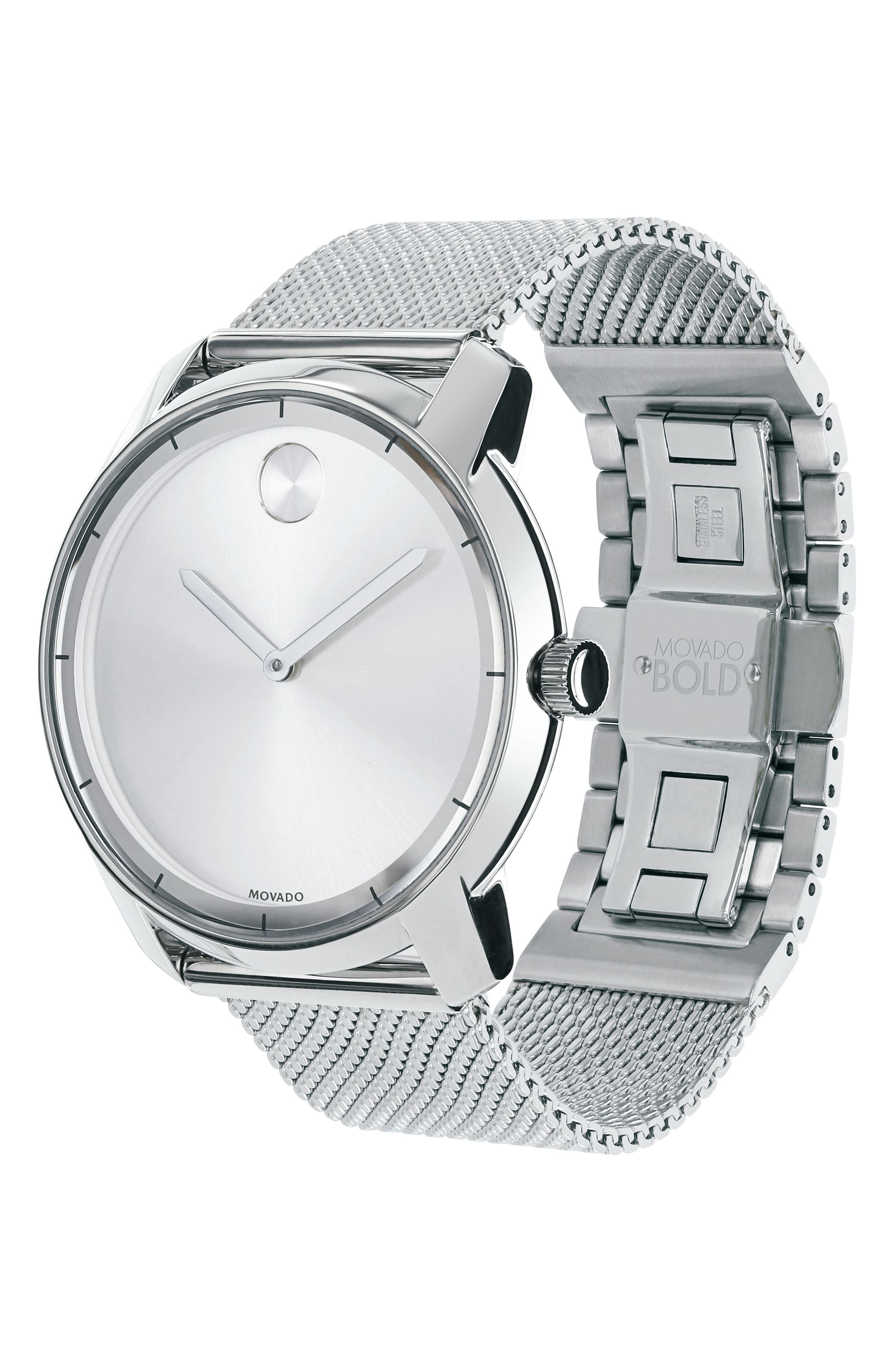 'Bold' Mesh Strap Watch, 44mm,                             Alternate thumbnail 3, color,                             Silver