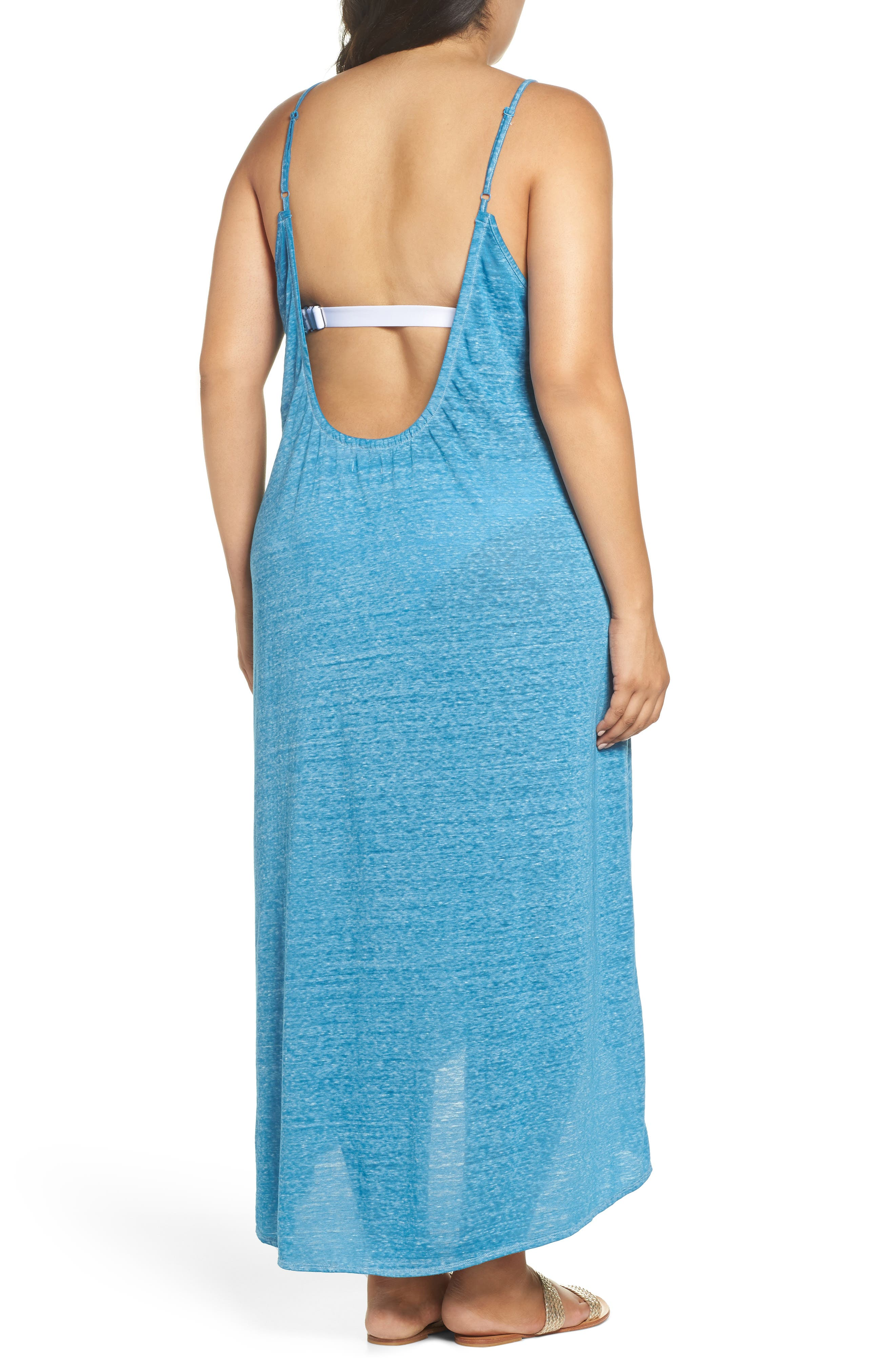 Maxi Cover-Up Dress,                             Alternate thumbnail 2, color,                             Teal Turkish