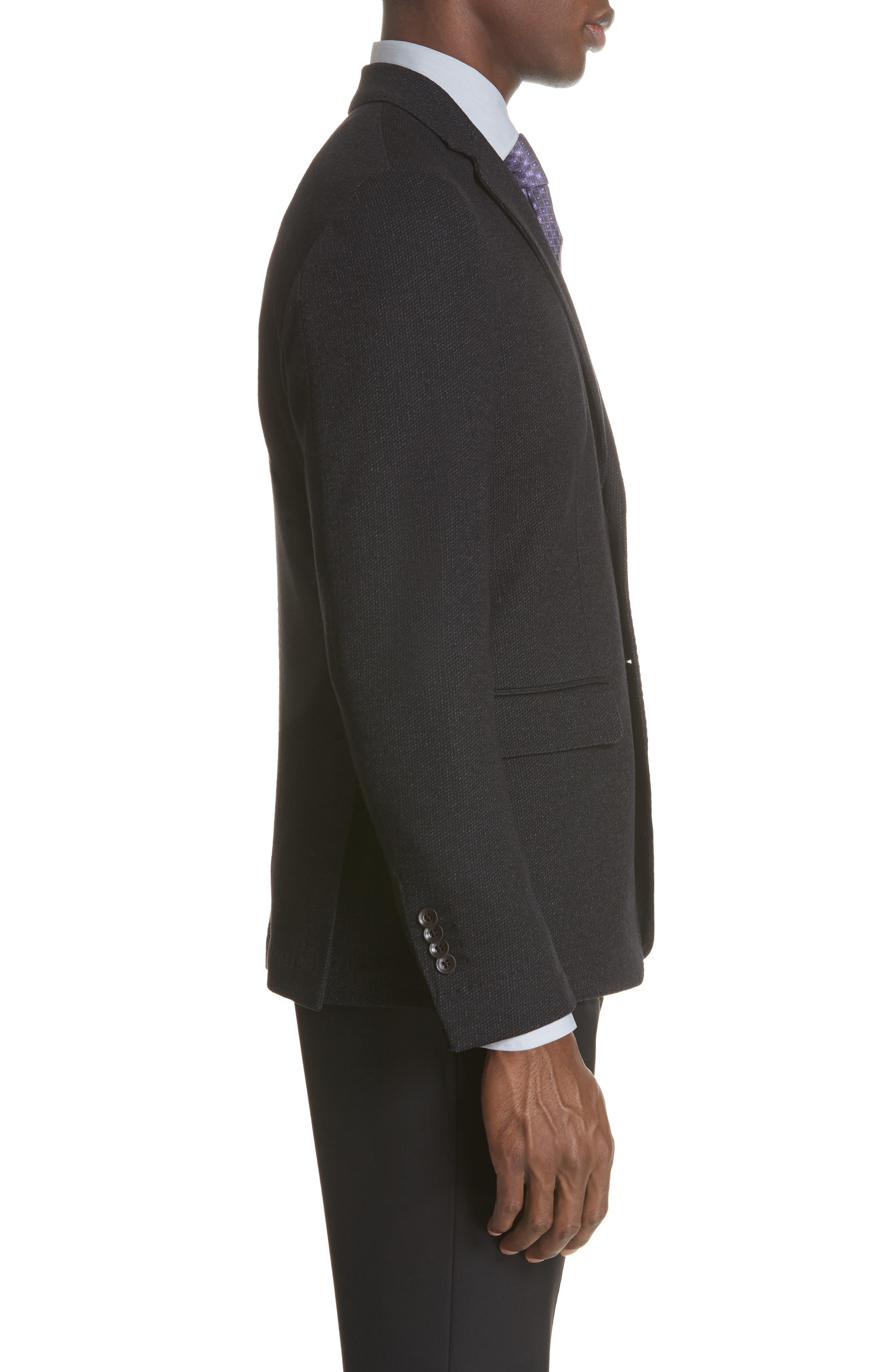 Slim Fit Wool & Cotton Blazer,                             Alternate thumbnail 5, color,                             Grey
