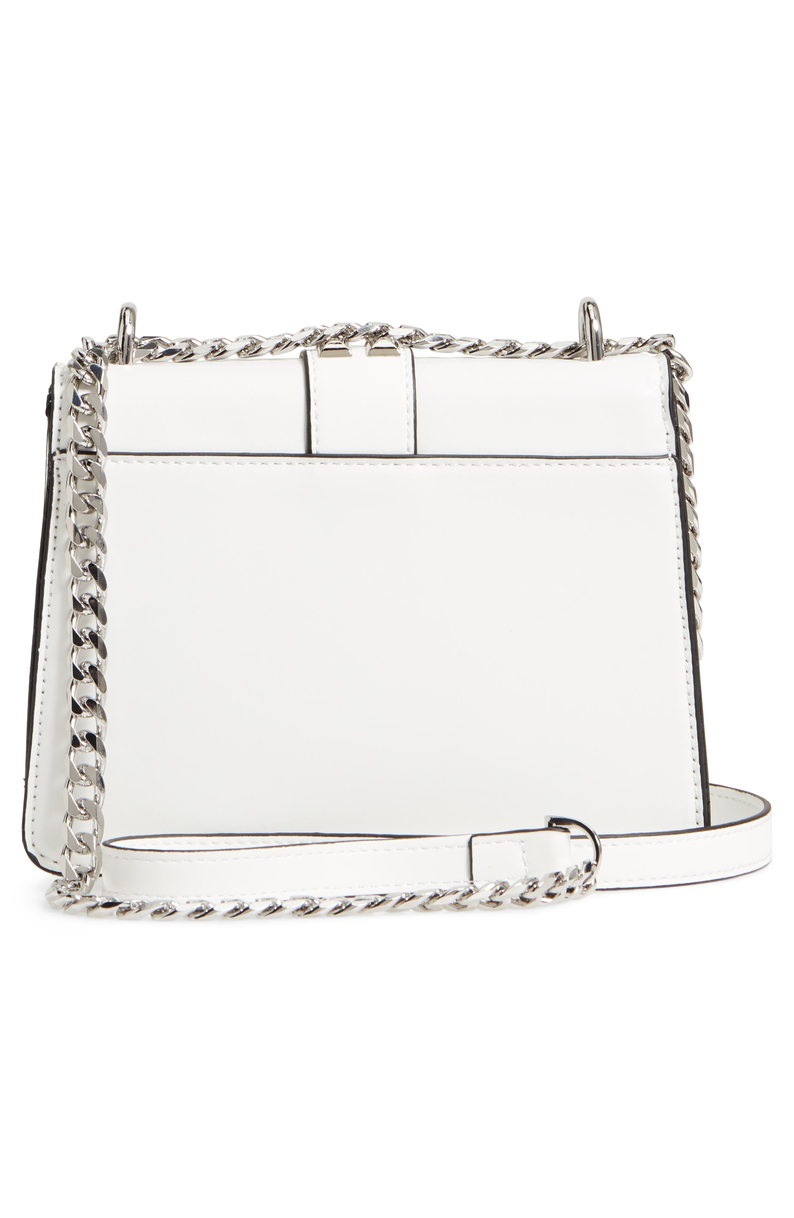 Shelby Studded Faux Leather Crossbody Bag,                             Alternate thumbnail 6, color,                             White