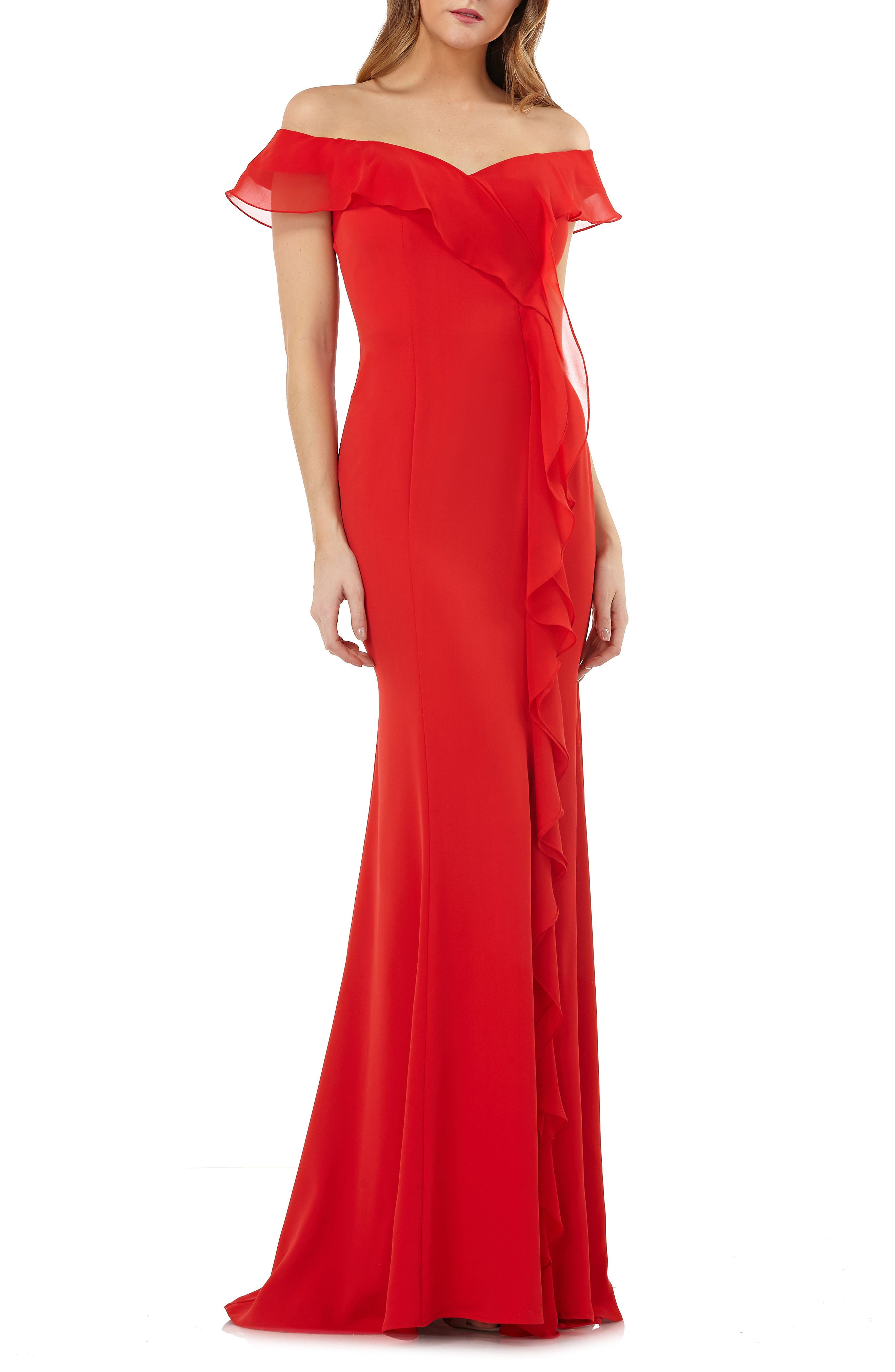 Off the Shoulder Cascading Ruffle Gown,                             Main thumbnail 1, color,                             Flame Red