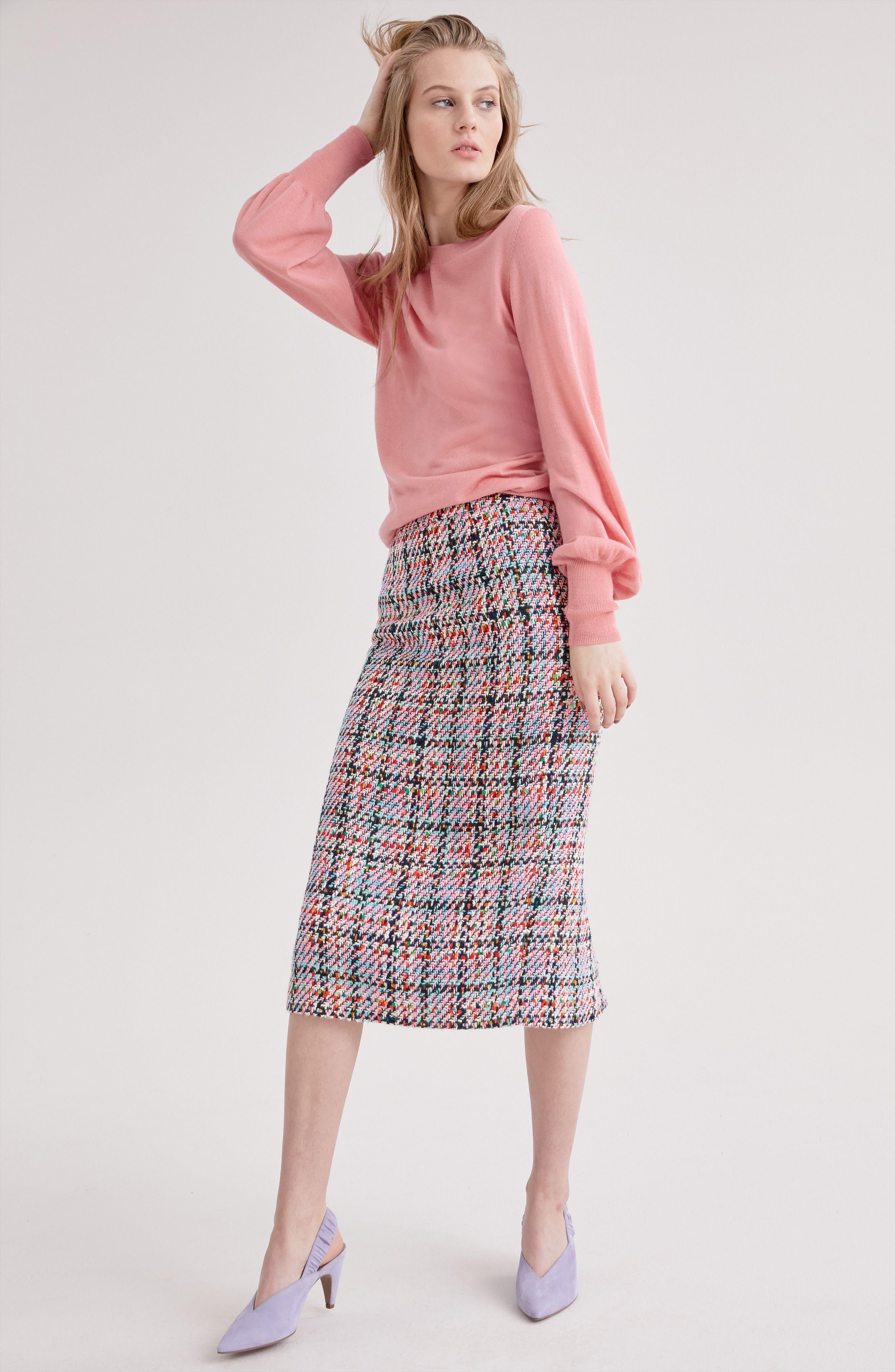 Tweed Midi Skirt,                             Alternate thumbnail 7, color,