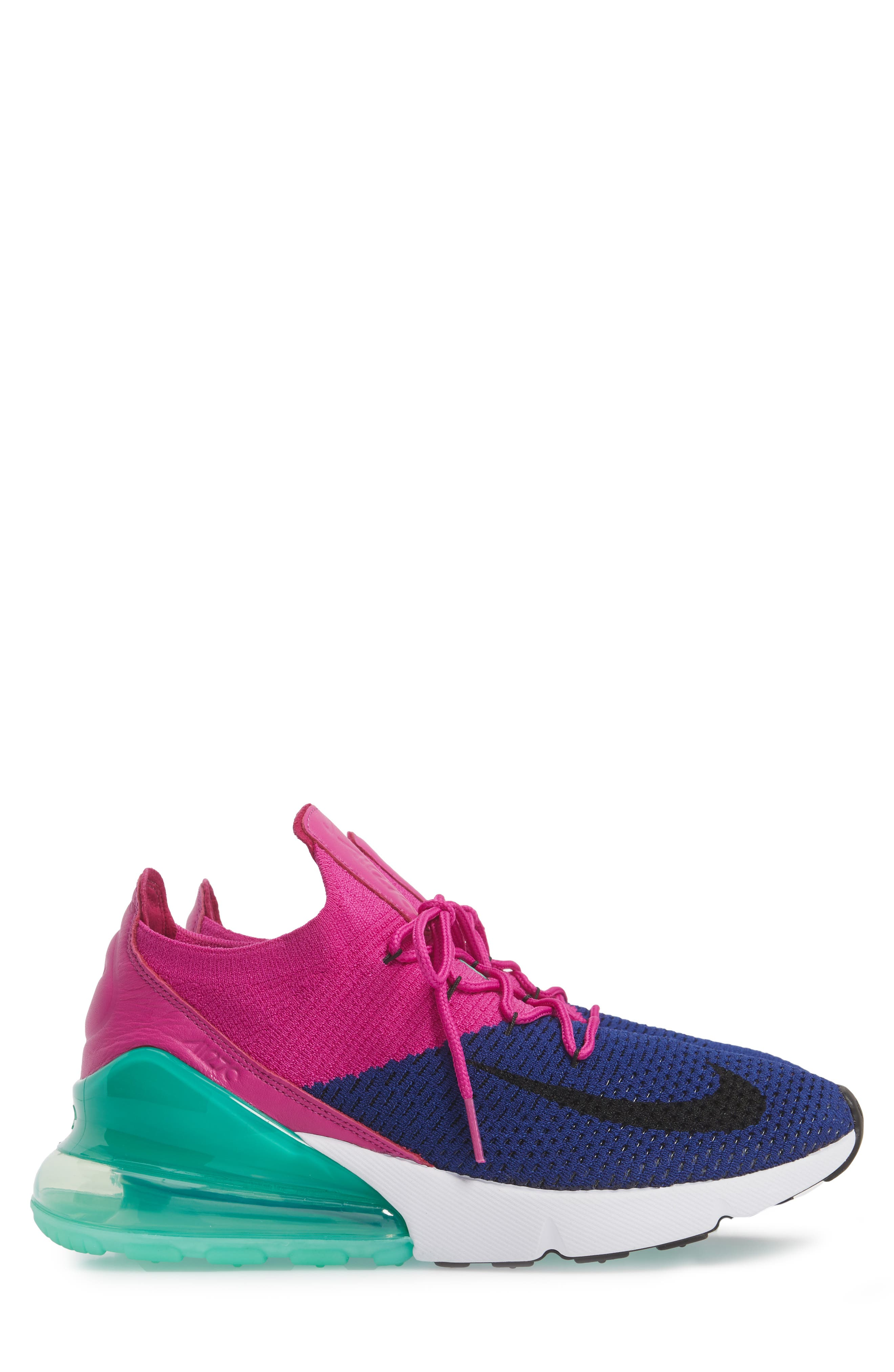 Air Max 270 Flyknit Sneaker,                             Alternate thumbnail 6, color,                             Deep Royal Blue/ Black