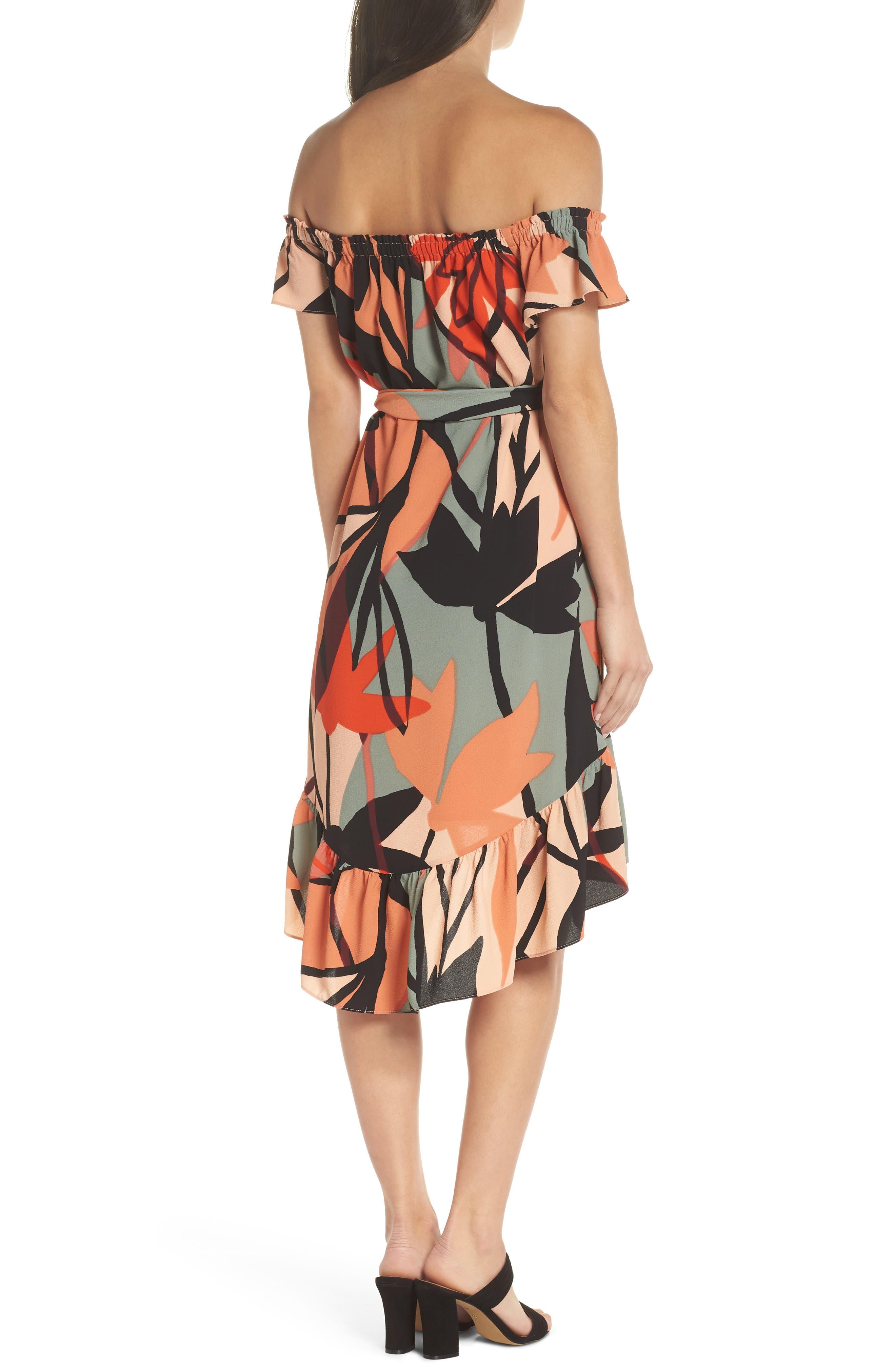Off the Shoulder Bubble Crepe Dress,                             Alternate thumbnail 2, color,                             Peach / Black