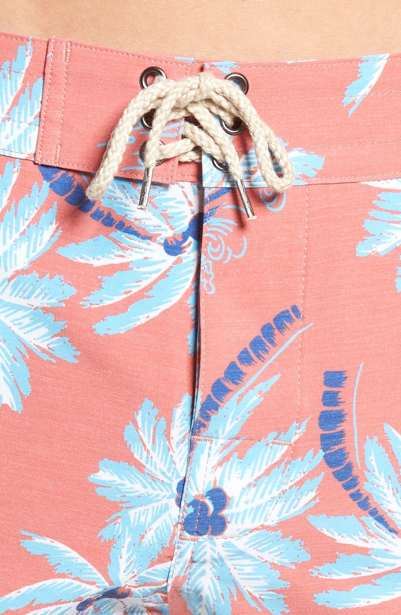 Classic Board Shorts,                             Alternate thumbnail 5, color,                             Red Palm Hawaiian