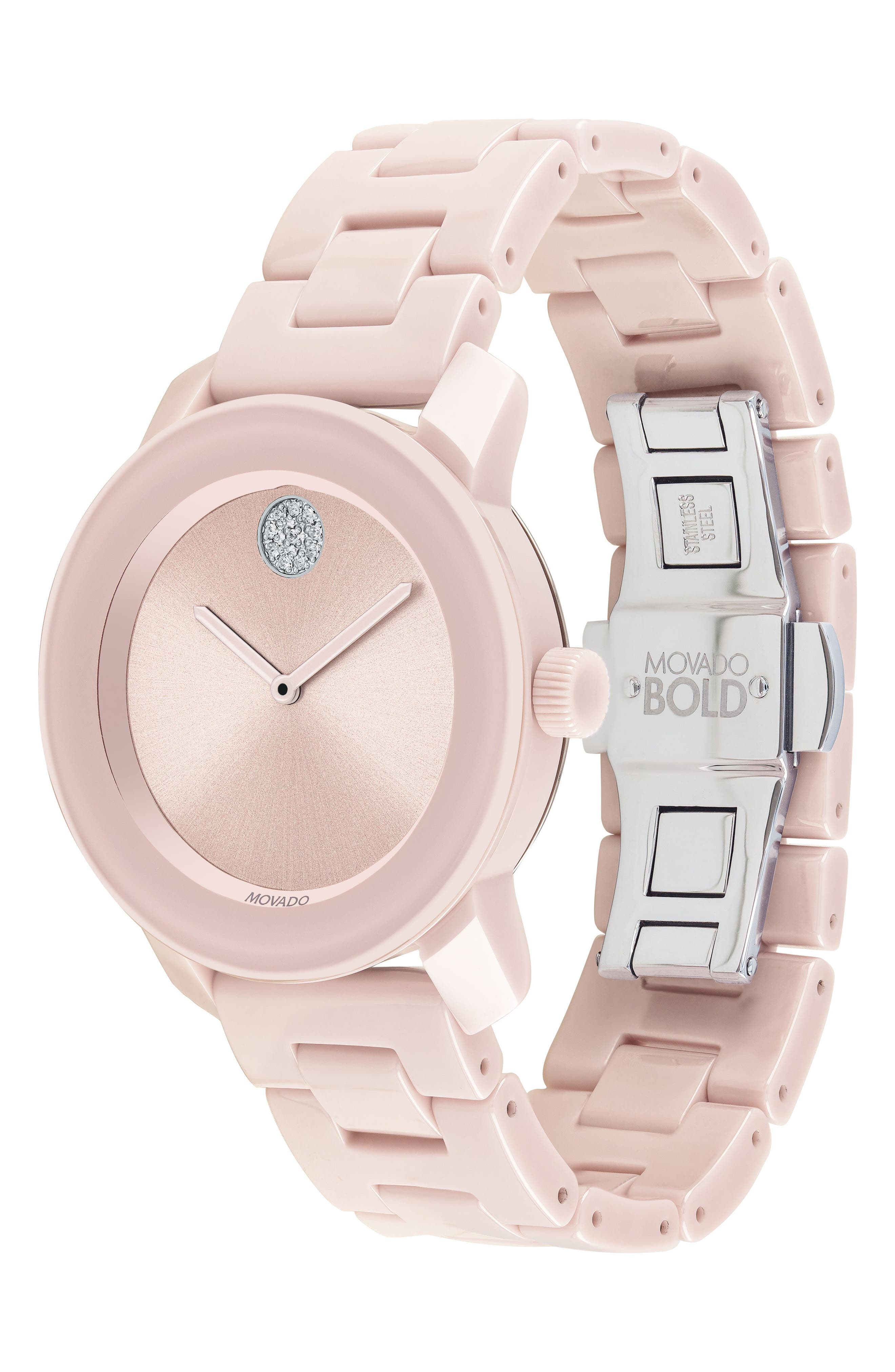Bold Ceramic Bracelet Watch, 36mm,                             Alternate thumbnail 3, color,                             Blush Pink