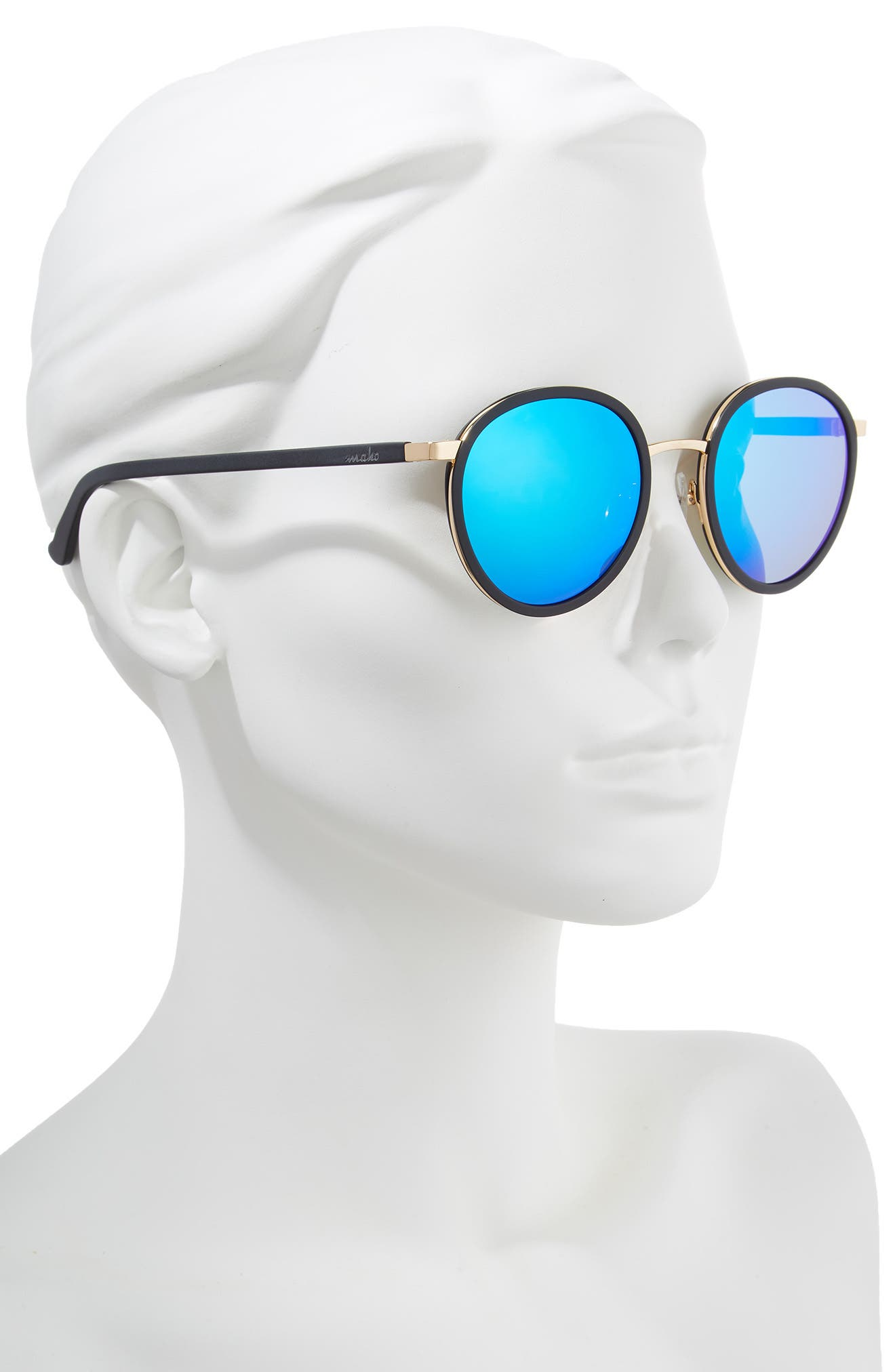 Cabo 50mm Polarized Round Sunglasses,                             Alternate thumbnail 2, color,                             Charcoal/ Blue