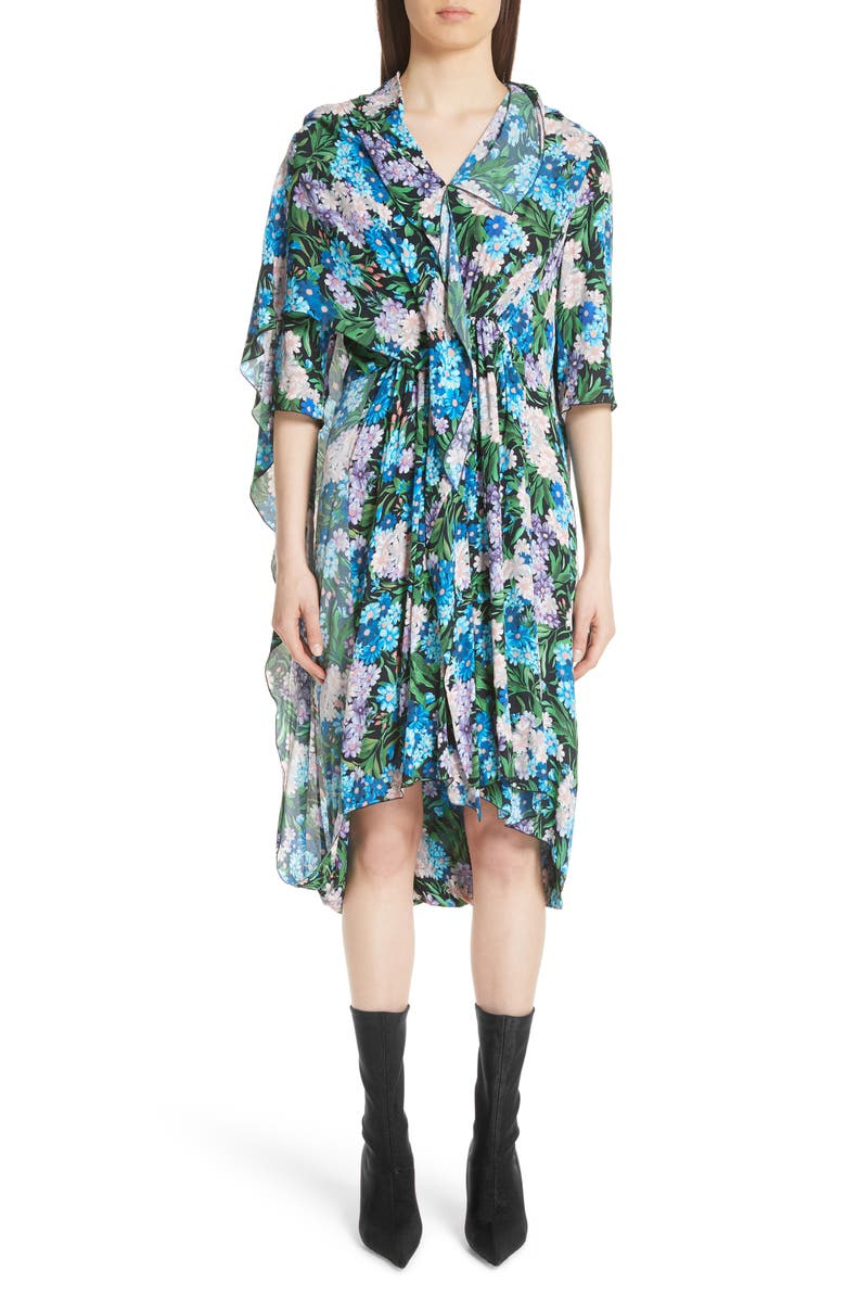 Floral Print Cape Detail Dress