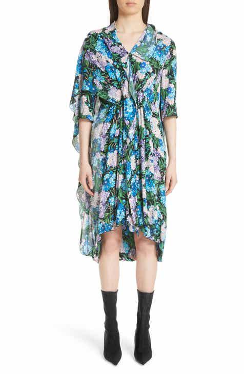 Balenciaga Floral Print Cape Detail Dress a6aabcd3da