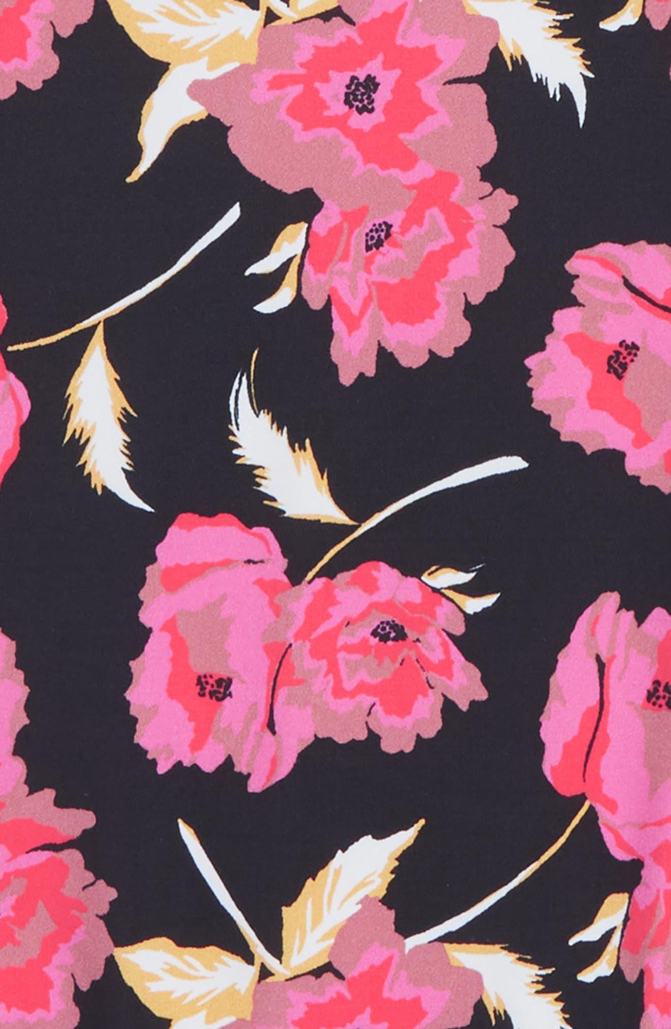 Floral Dawn One-Piece Rashguard Swimsuit,                             Alternate thumbnail 2, color,                             Black Pebble