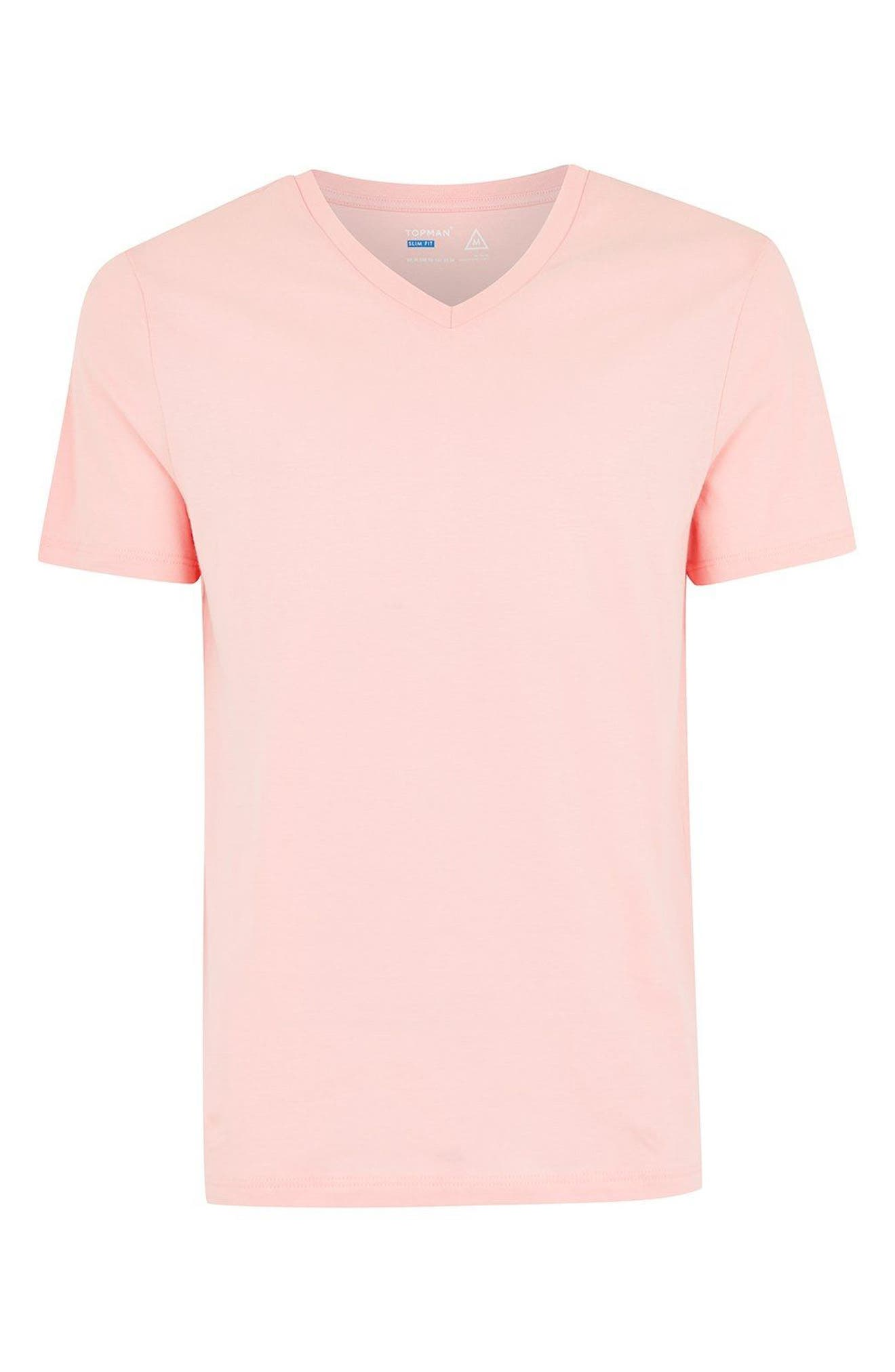 V-Neck T-Shirt,                             Alternate thumbnail 3, color,                             Salmon