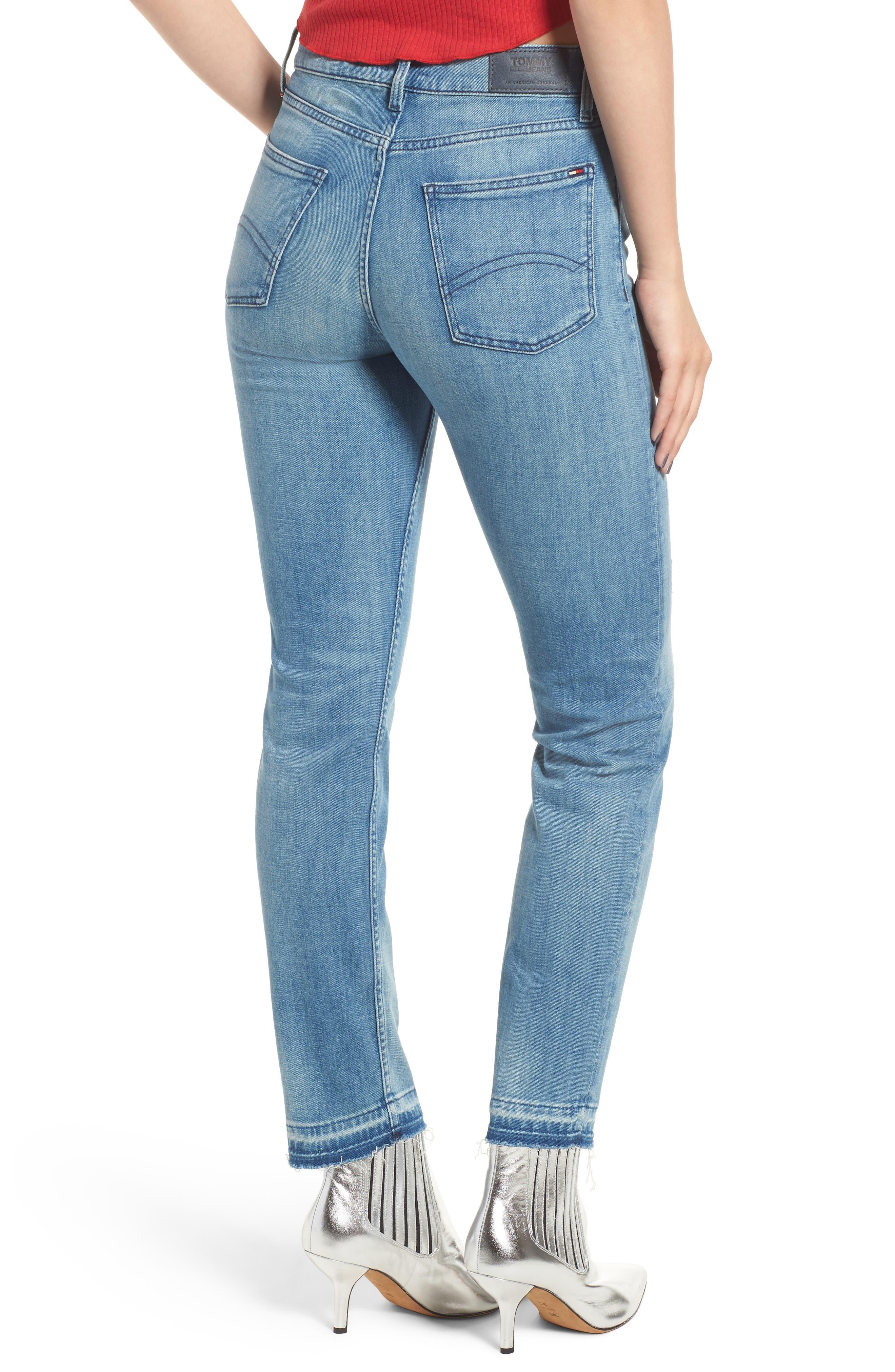 Izzy High Waist Slim Leg Jeans,                             Alternate thumbnail 2, color,                             Denver Light Blue Comfort