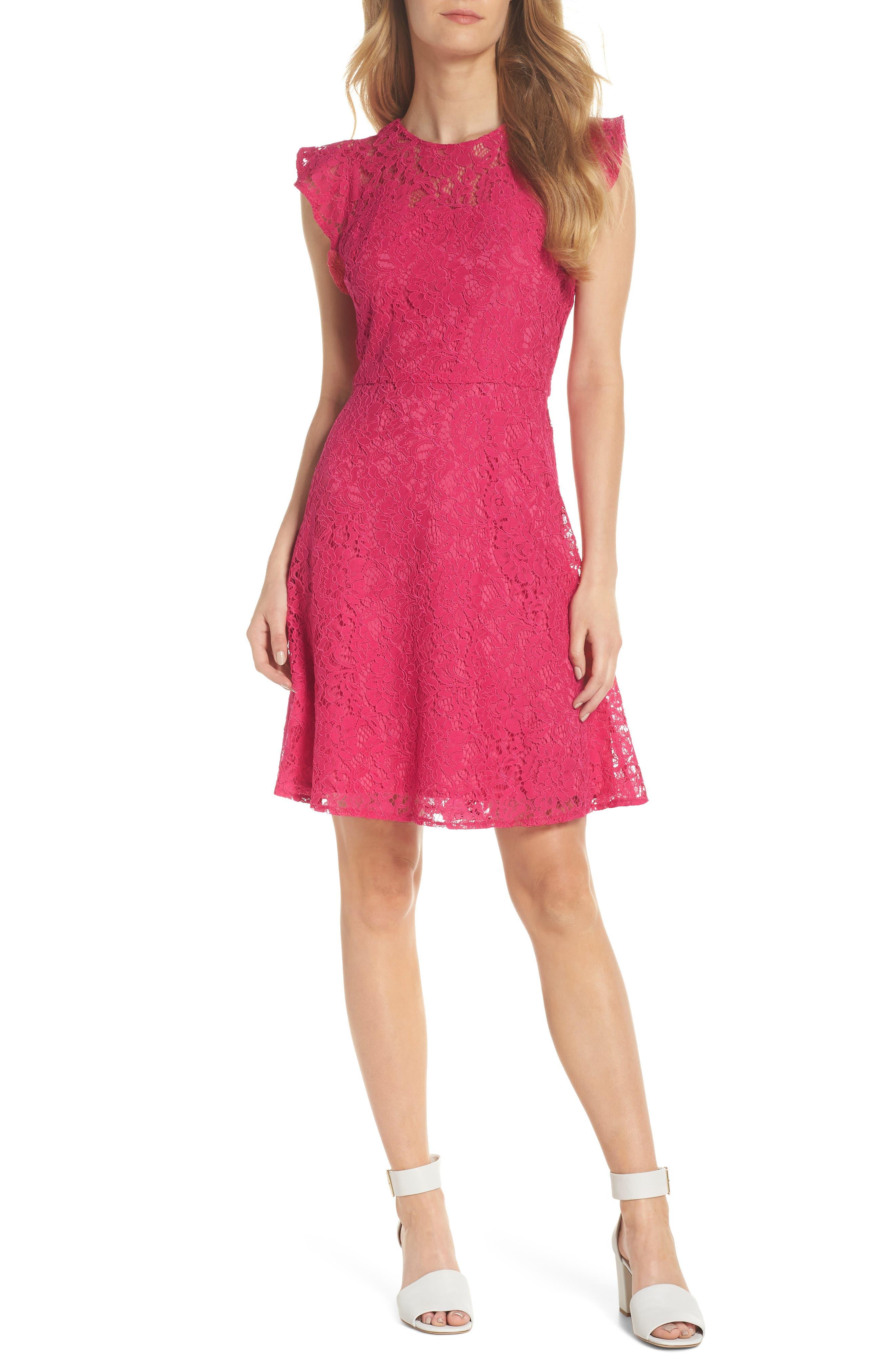 Lace Fit & Flare Dress, Main, color, Fuchsia